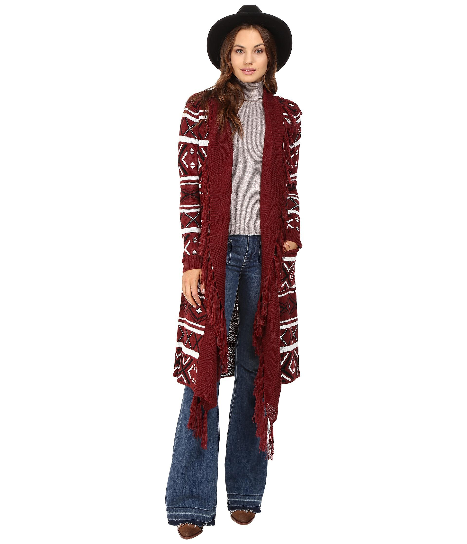 Jack bb dakota Maribeth Intarsia Maxi Cardigan W/ Fringe in Red ...