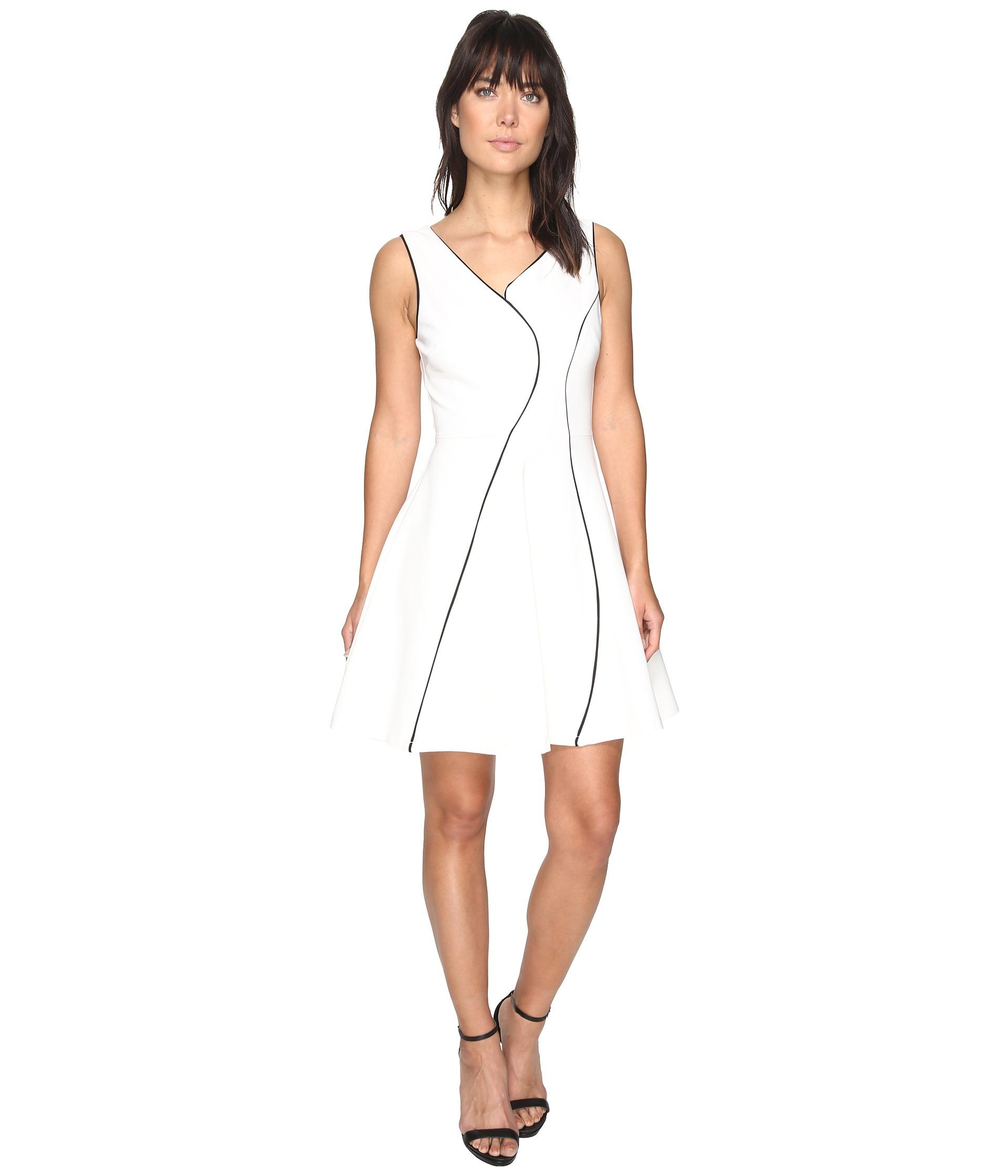 Adelyn Rae Linsey Knit Ponte Fit And Flare Dress In White