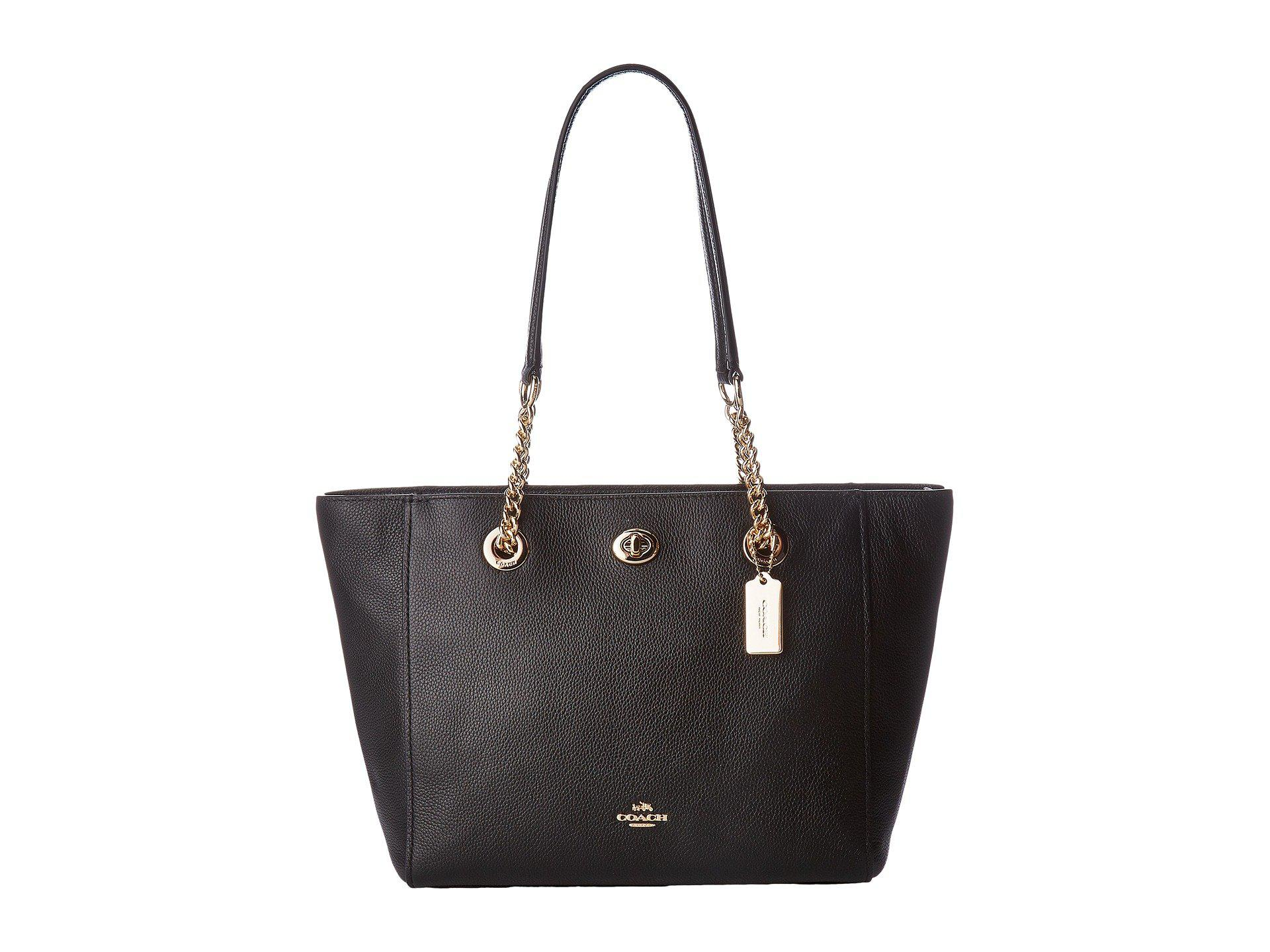 Tote - Polished Pebbled Leather Chain Tote 27 Peony - rose - Tote for ladies Coach E2ChIIxL