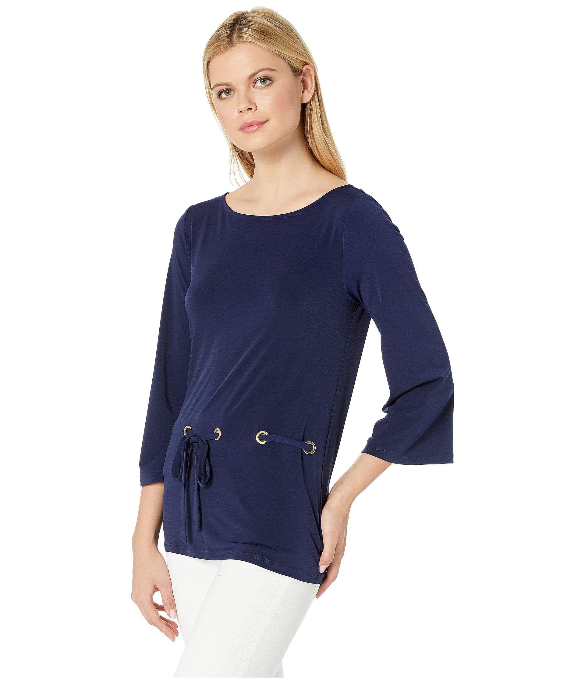 d76eea5500846 Lyst - MICHAEL Michael Kors Grommet Tie Thru Top (black) Women s Clothing  in Blue
