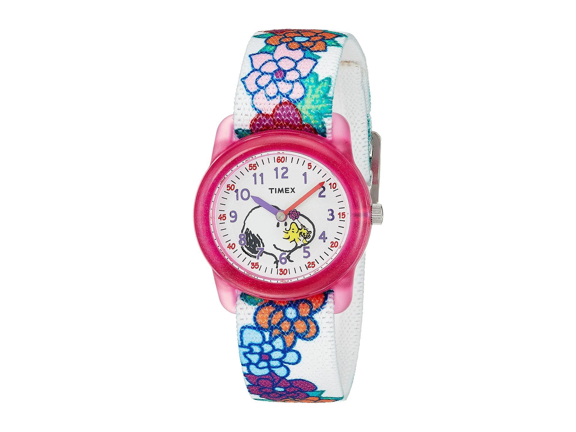 8b59184caa0e Lyst - Timex Time Machines Analog X Peanuts Elastic Fabric Strap