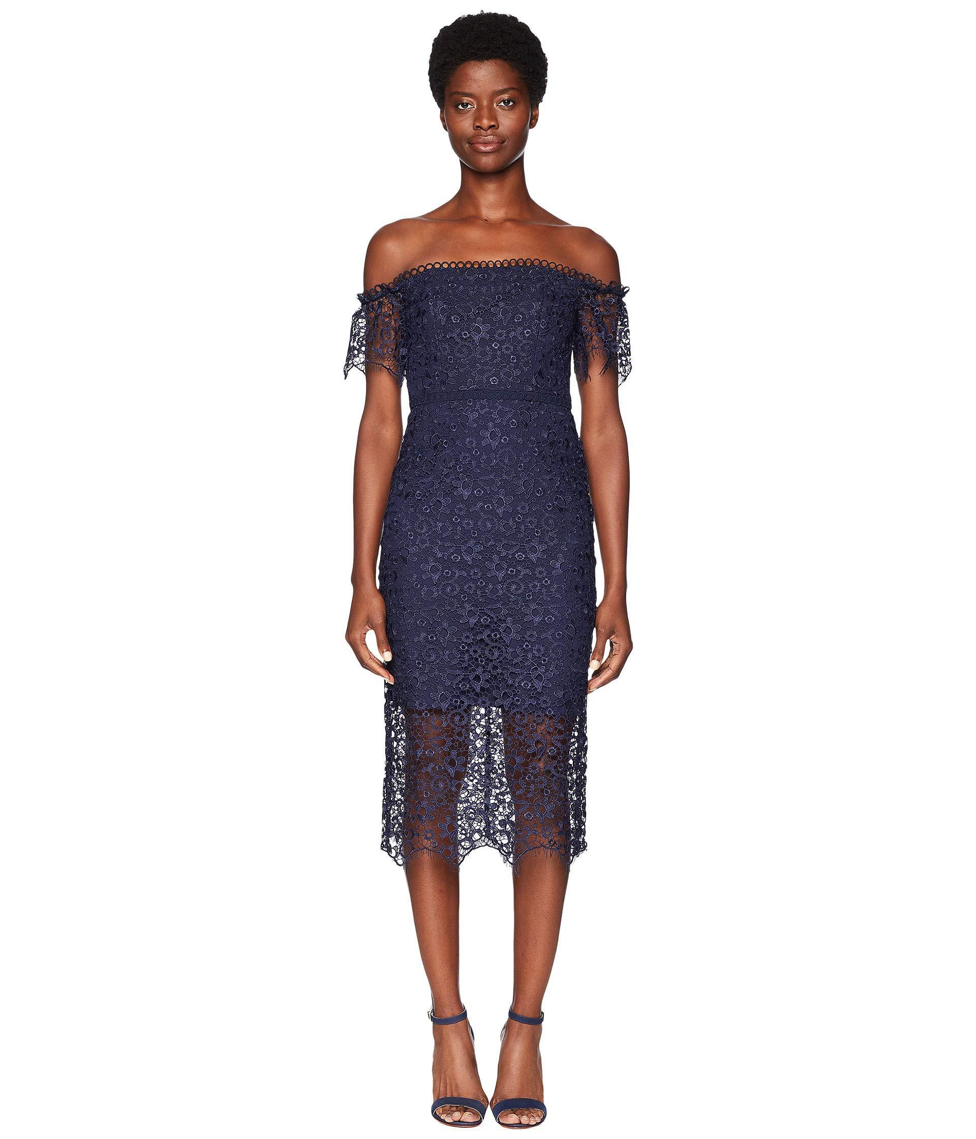 219a257c8ce ML Monique Lhuillier. Blue Off Shoulder Lace Cocktail Dress (navy) Women s  Dress