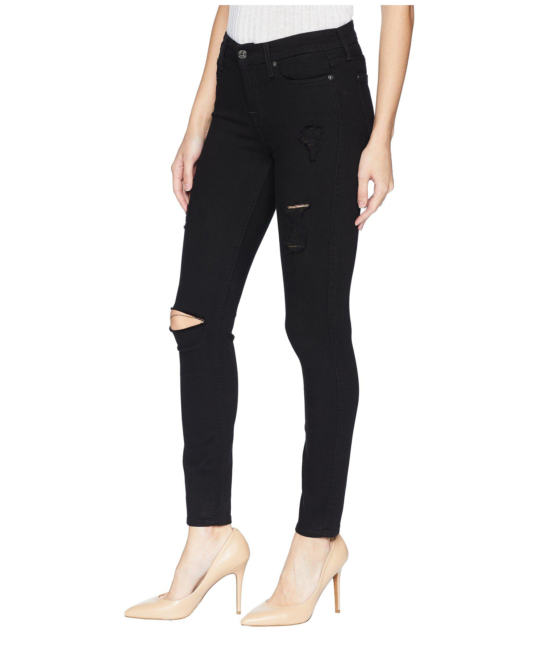 size 40 2c524 d1292 Lyst - 7 For All Mankind B(air) Ankle Skinny With Destroy In Black 3 (black  3) Women s Jeans in Black