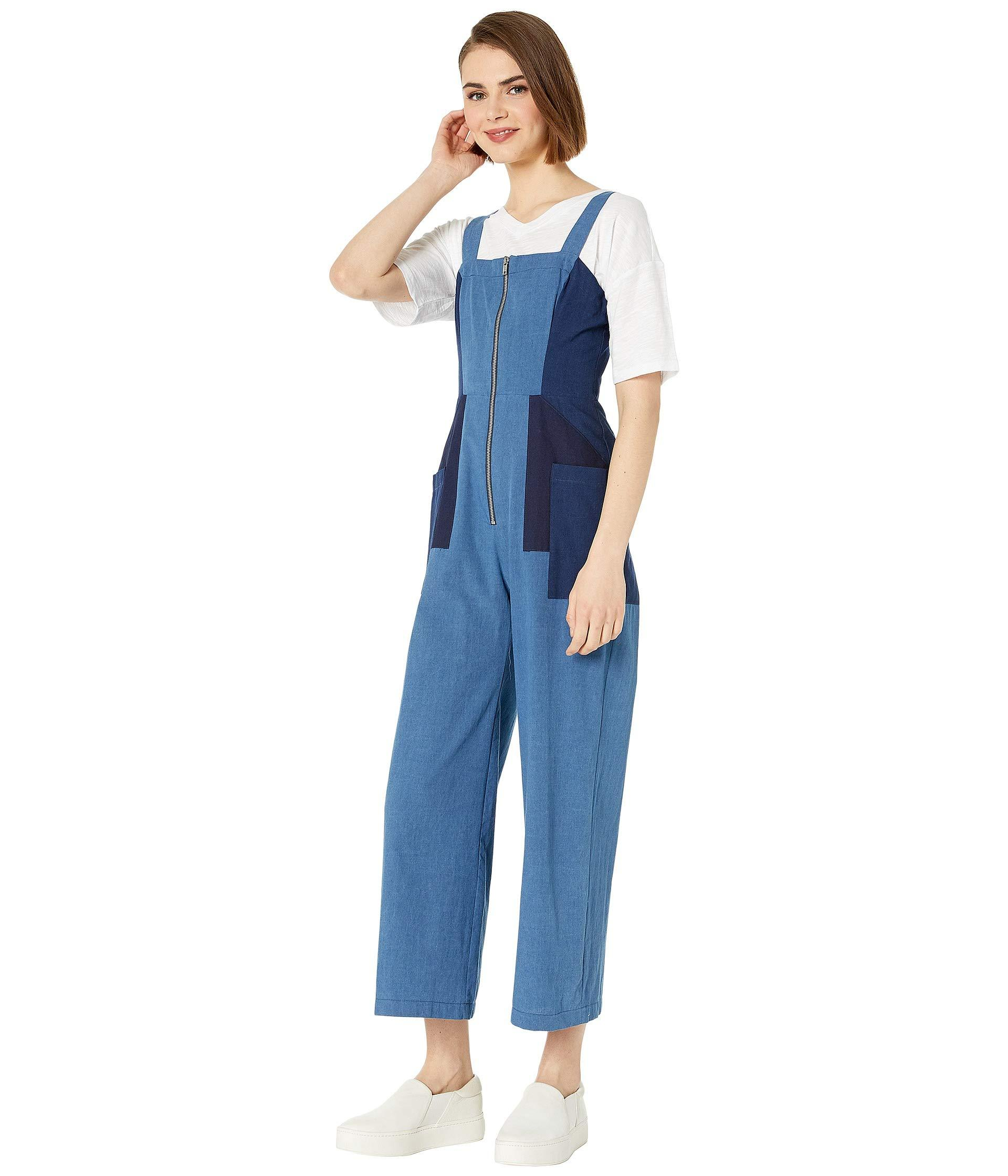 3c864f3874da Lyst - BCBGeneration Chambray Woven Cropped Jumpsuit In Light Wash (light  Wash) Women s Jumpsuit   Rompers One Piece in Blue