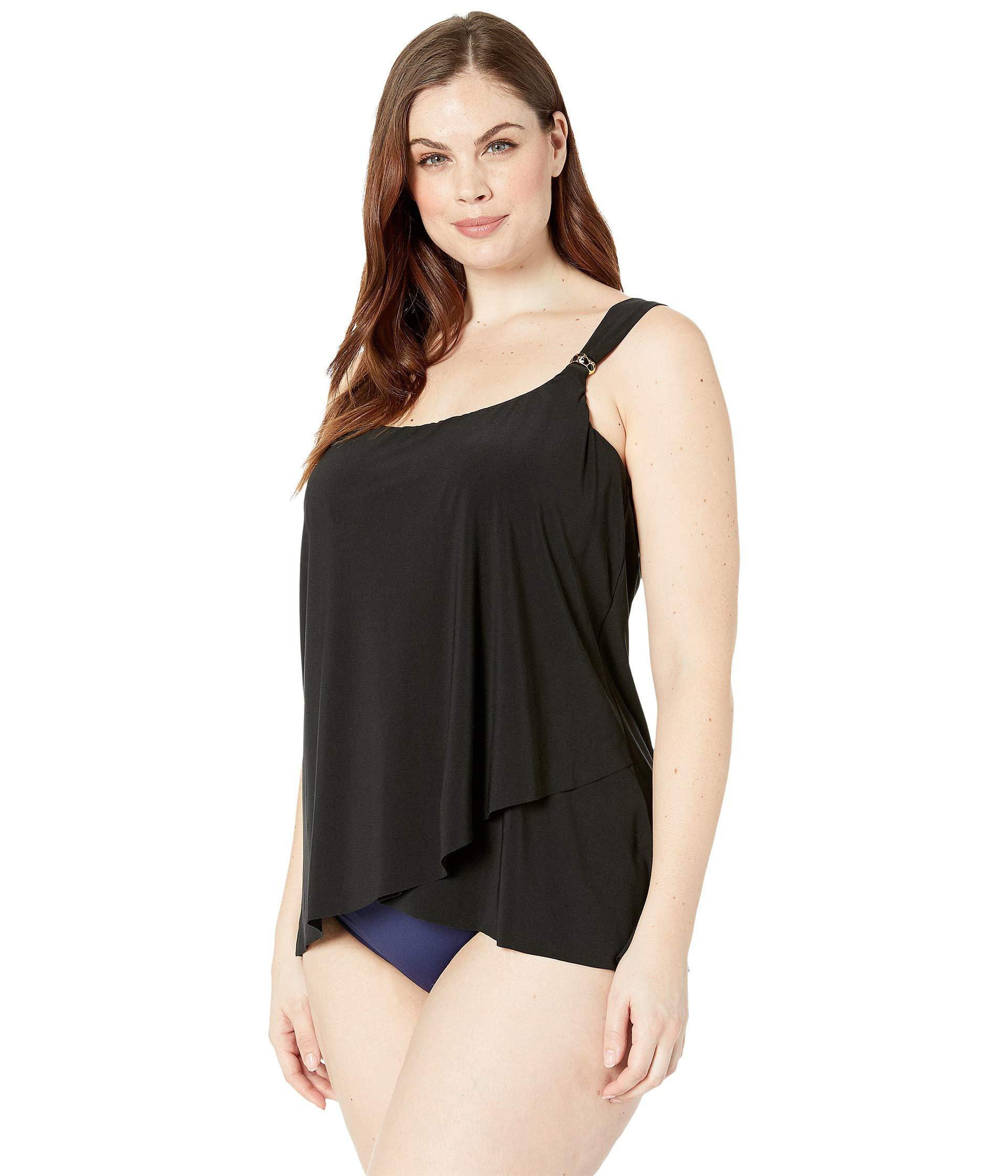 f9247fd729a5b Lyst - Miraclesuit Plus Size Solid Dazzle Tankini Top (black) Women's  Swimwear in Black