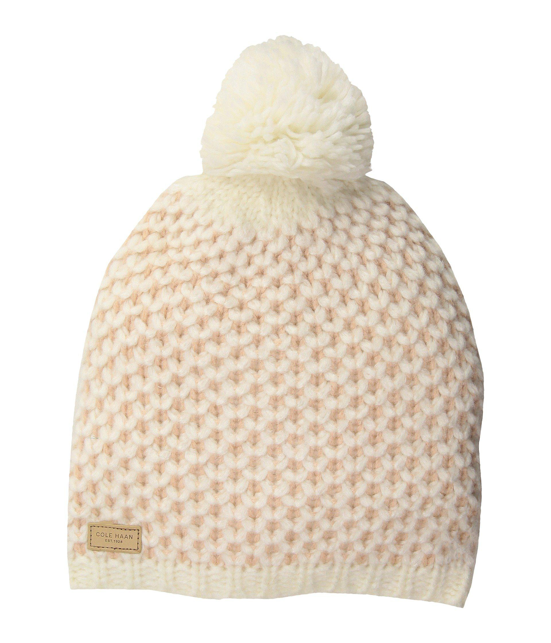 799a43542 Lyst - Cole Haan Chessboard Tuck Stitch Beanie in Natural
