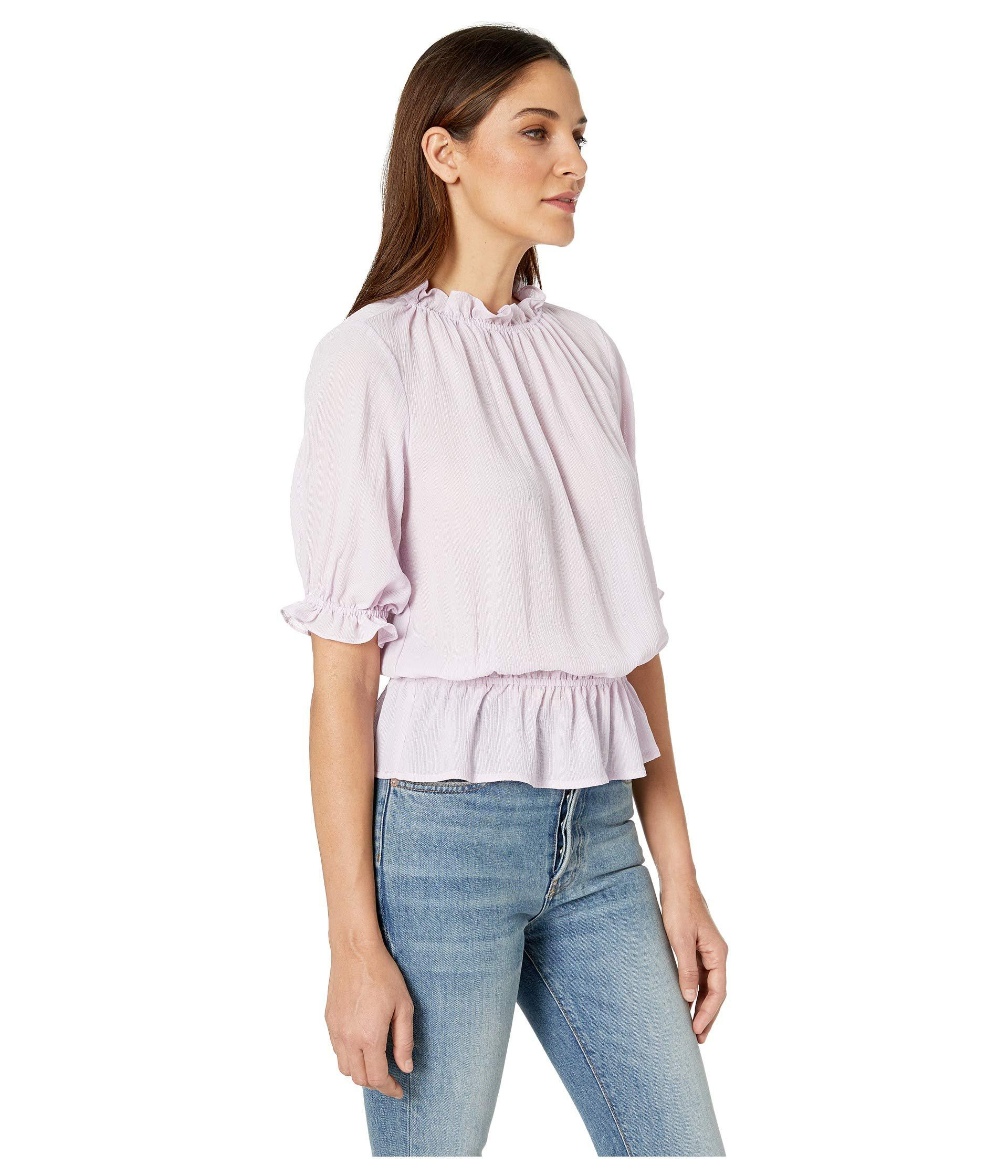 9f9a5ed0b18a2a 1.STATE - White Short Sleeve Mock Neck Micro Check Ruffle Blouse (orchid  Rose. View fullscreen