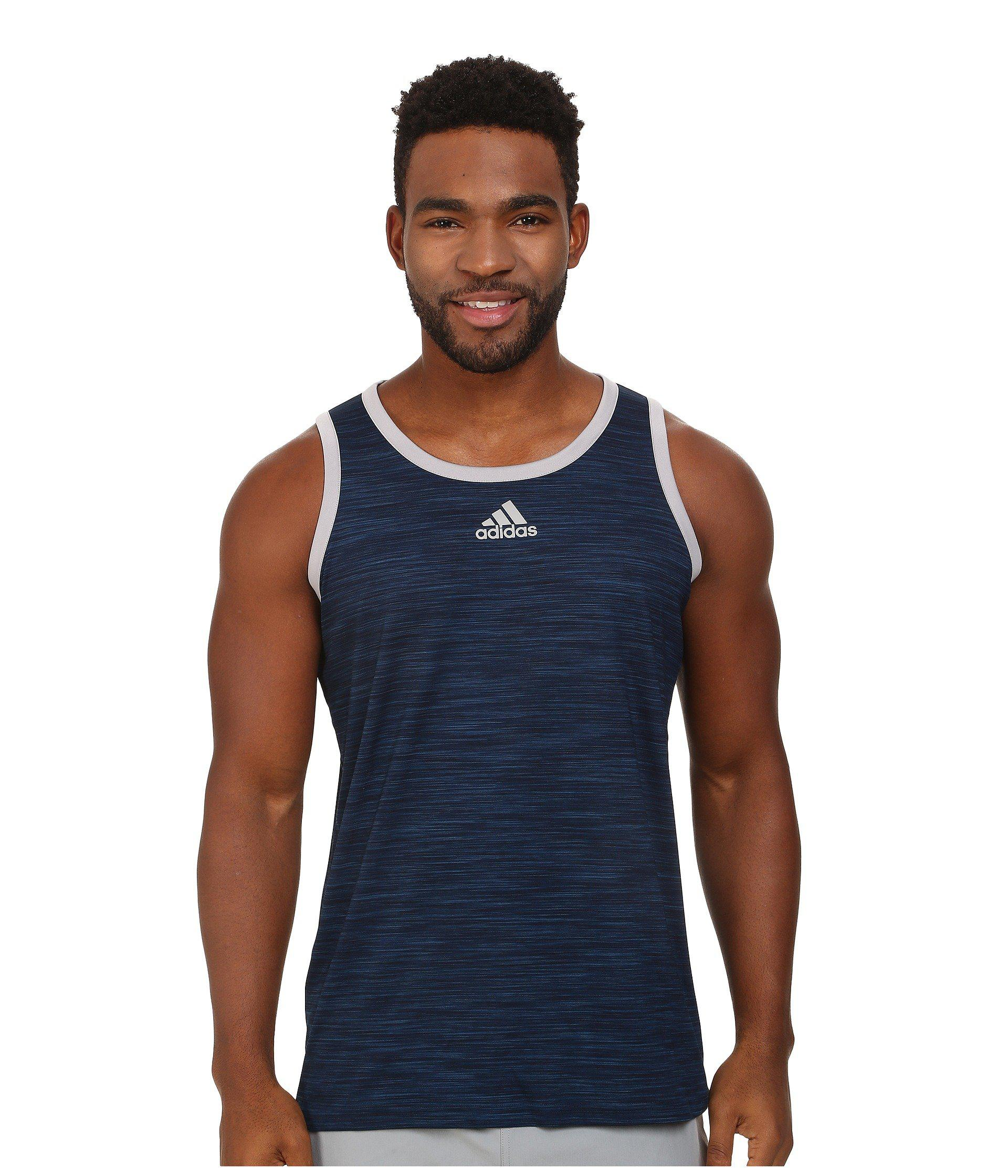 f558e69dc3ae1 Lyst - adidas Heathered Tank (scarlet black) Men s Sleeveless in ...