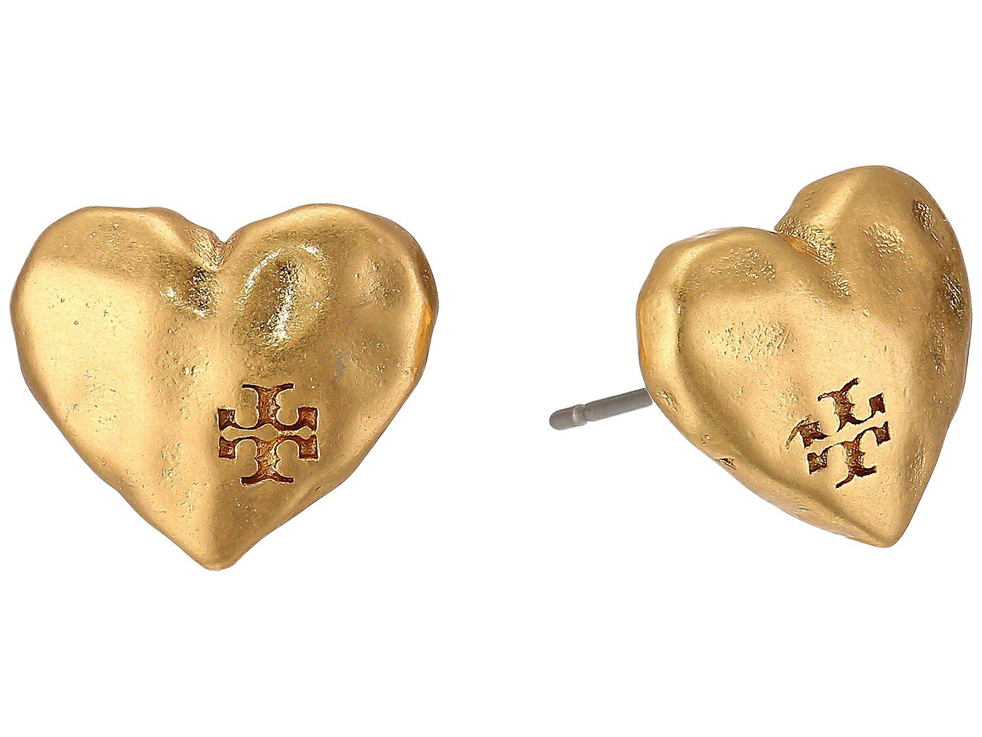 a44f6934b Tory Burch Heart Stud Earrings - Lyst