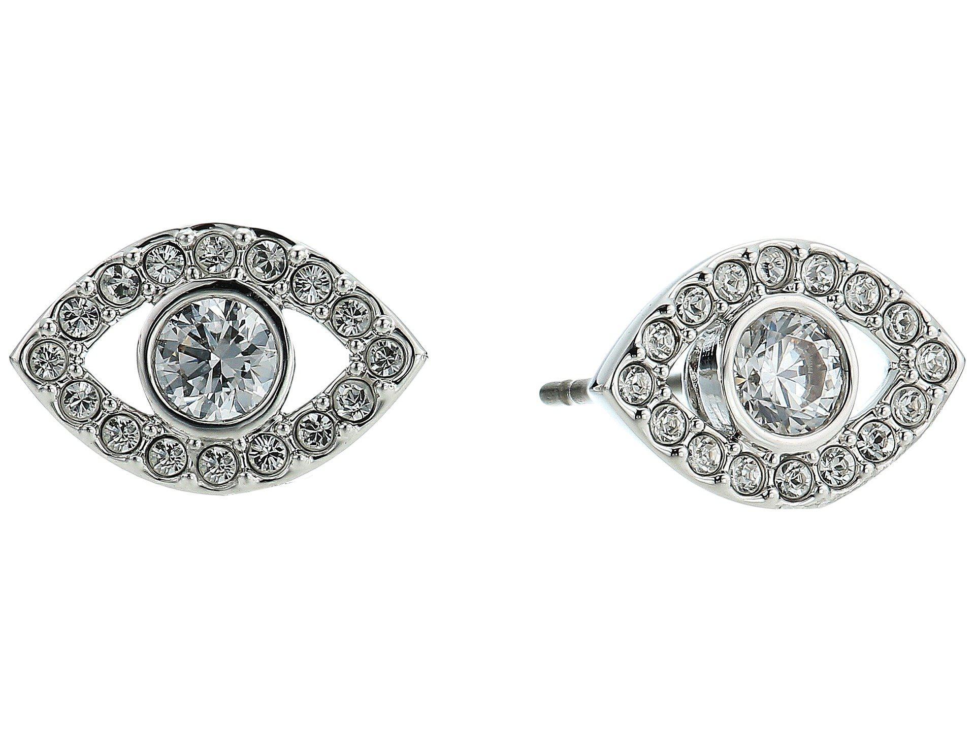 0656f60ef78c36 Swarovski Luckily Evil Eye Pierced Earrings (rhodium Plating/white ...