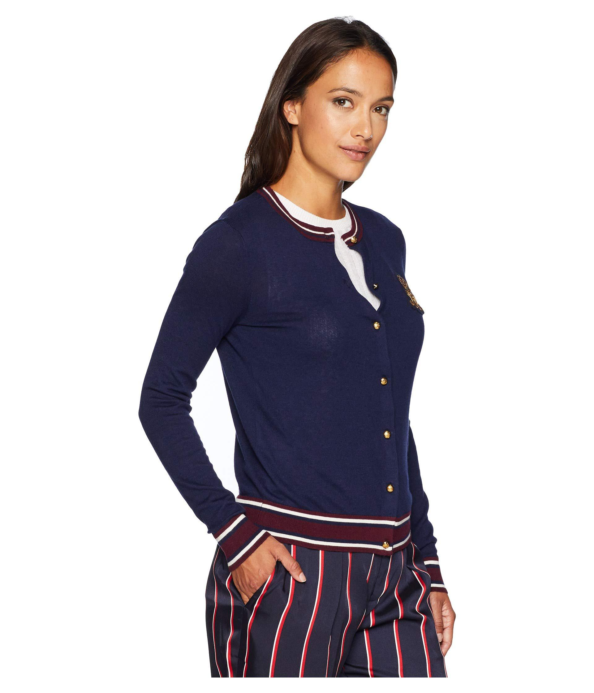 0a7867fda0 Lauren by Ralph Lauren - Blue Petite Bullion-patch Cotton Cardigan (navy  multi. View fullscreen