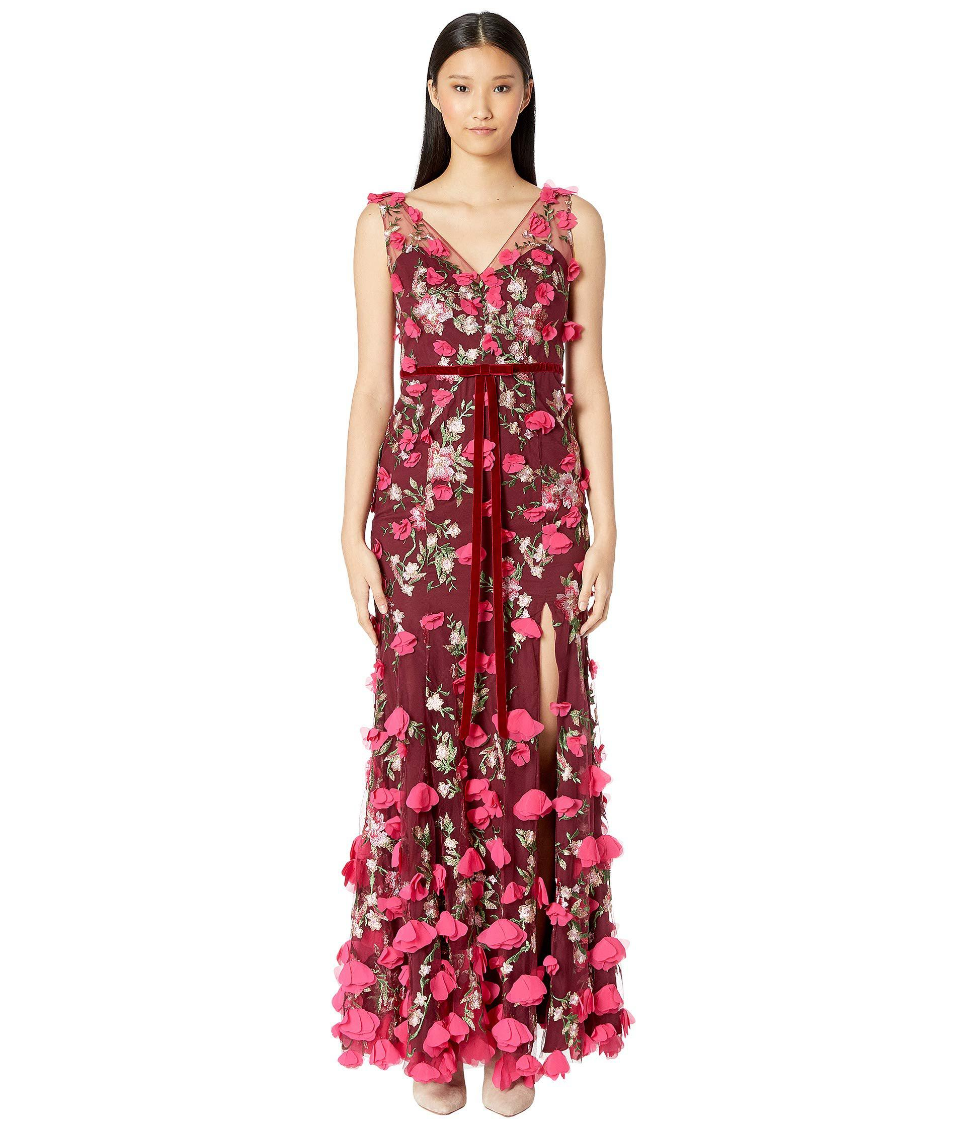 5ae2c1bc2bb1 Lyst - Marchesa notte V-neck Embroidered Gown W  3d Chiffon Flowers ...