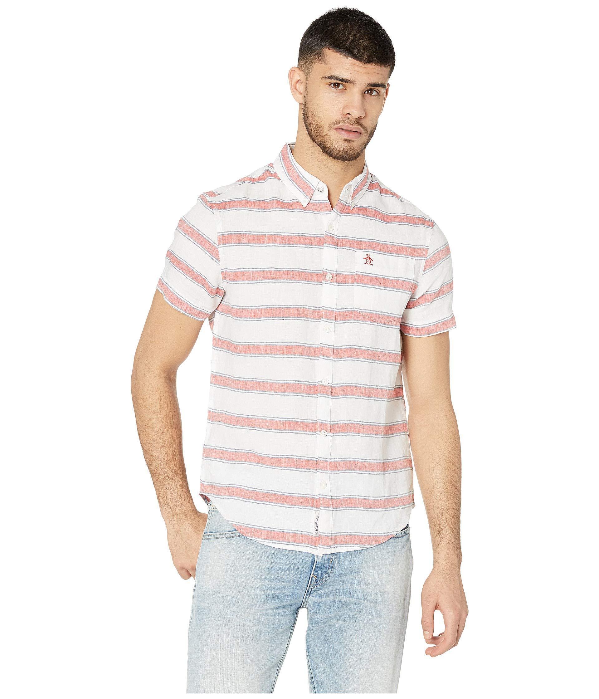 83233ab3460c2 Original Penguin Short Sleeve Linen Bold Stripe Shirt (bright White ...
