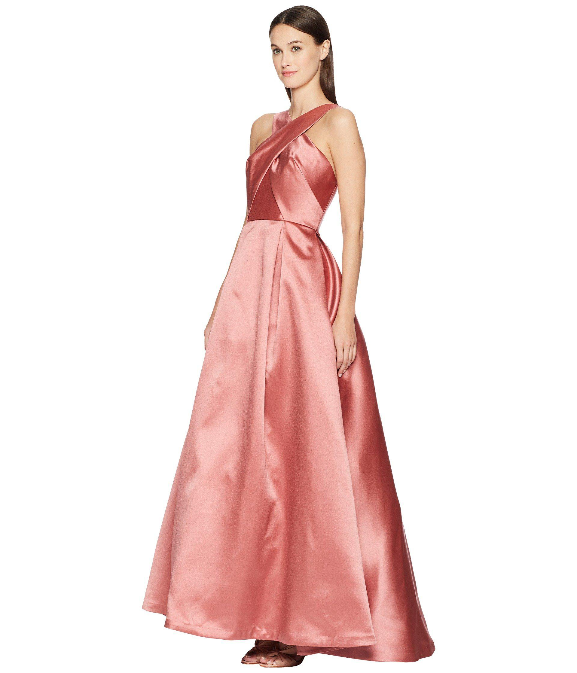 Lyst Ml Monique Lhuillier Cross Front Satin Gown Blush Pink Women S Dress In Save 55 10791366906475