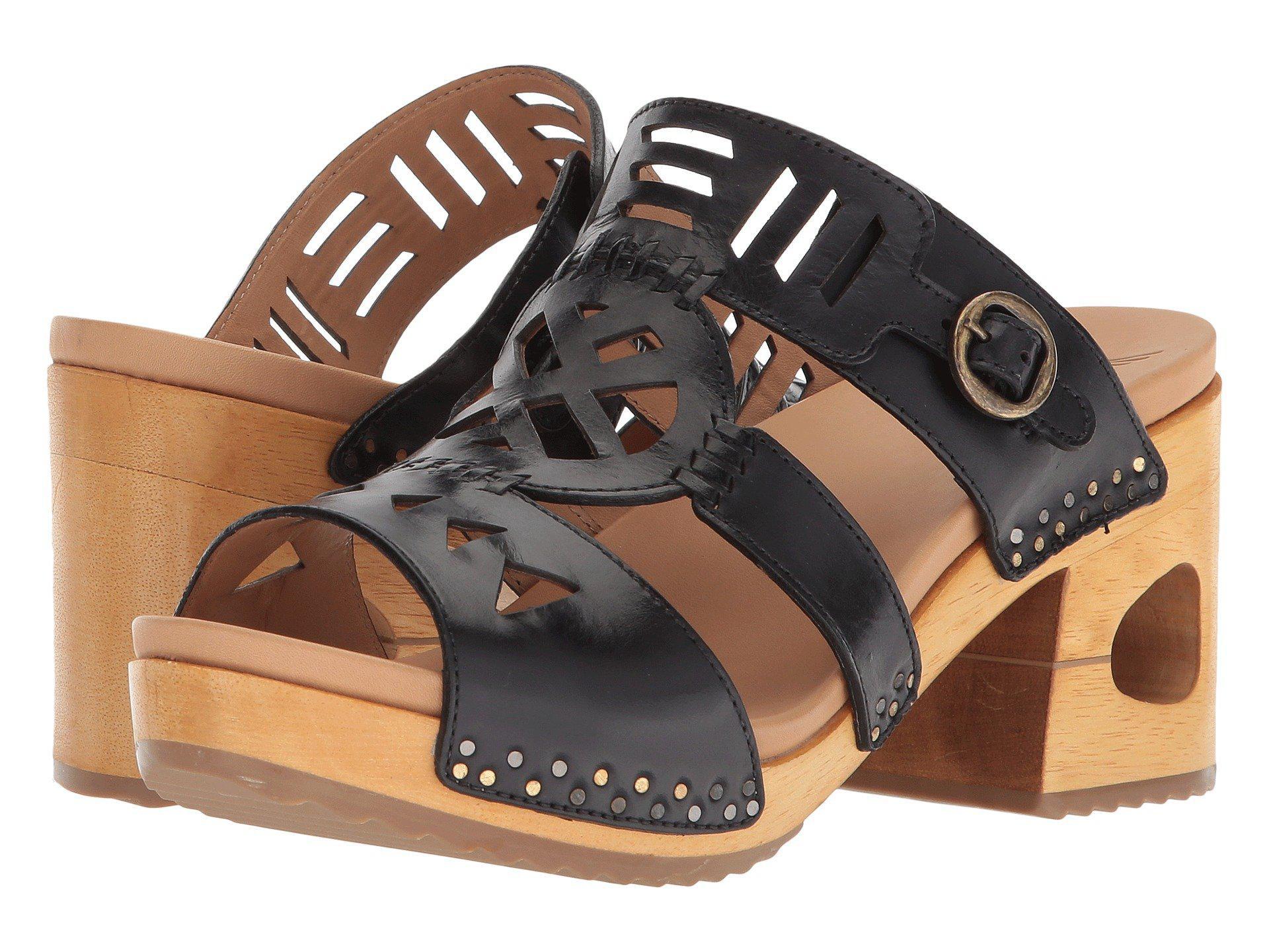 Oralee Black Waxy Block Heel Sandals 04yANOuDCC