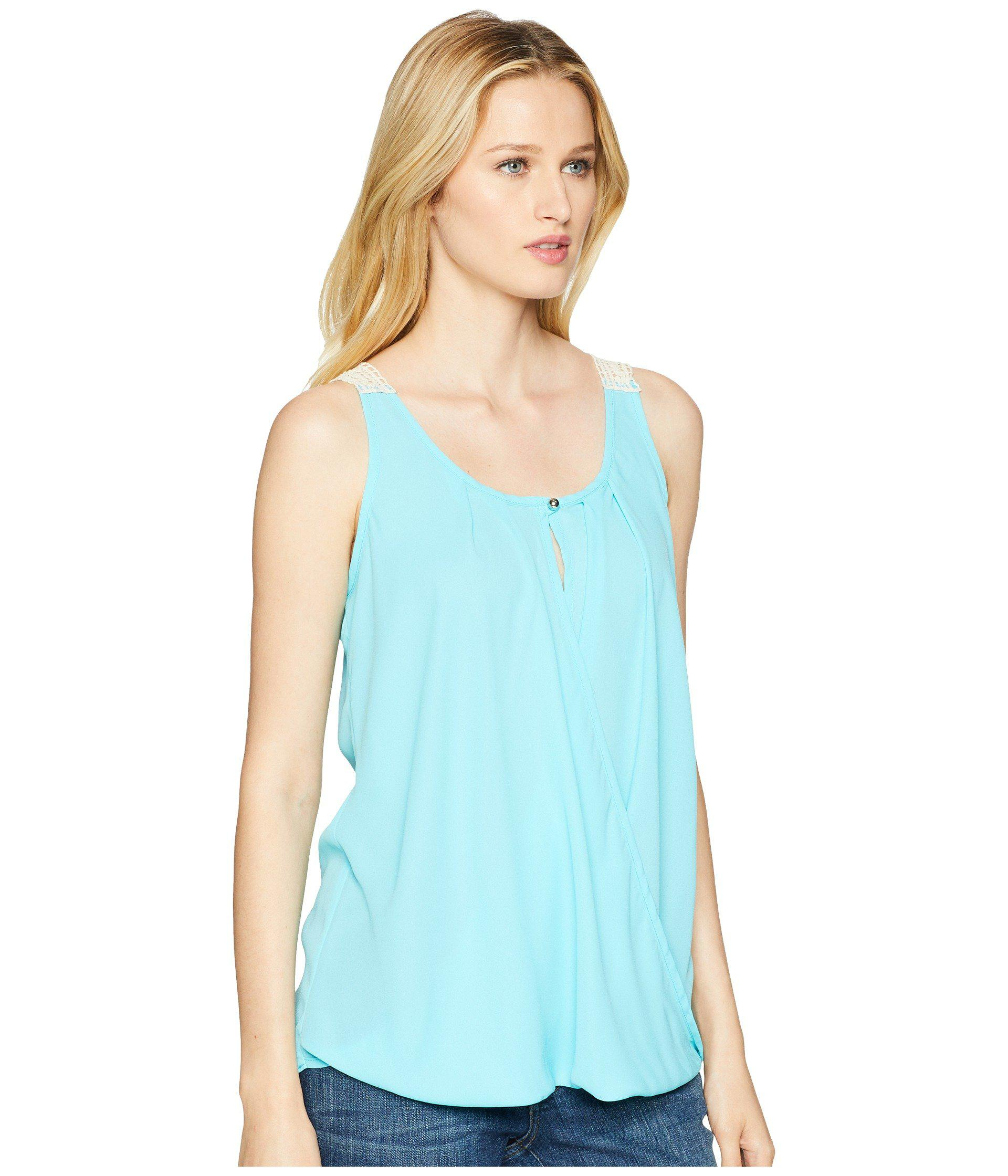 Excellent Cheap 2018 Unisex Sleeveless Surplice Crochet Back Top (Aqua Jade) Womens Sleeveless Wrangler Pay With Paypal Sale Online Sale Wholesale Price Geniue Stockist For Sale xqFFS