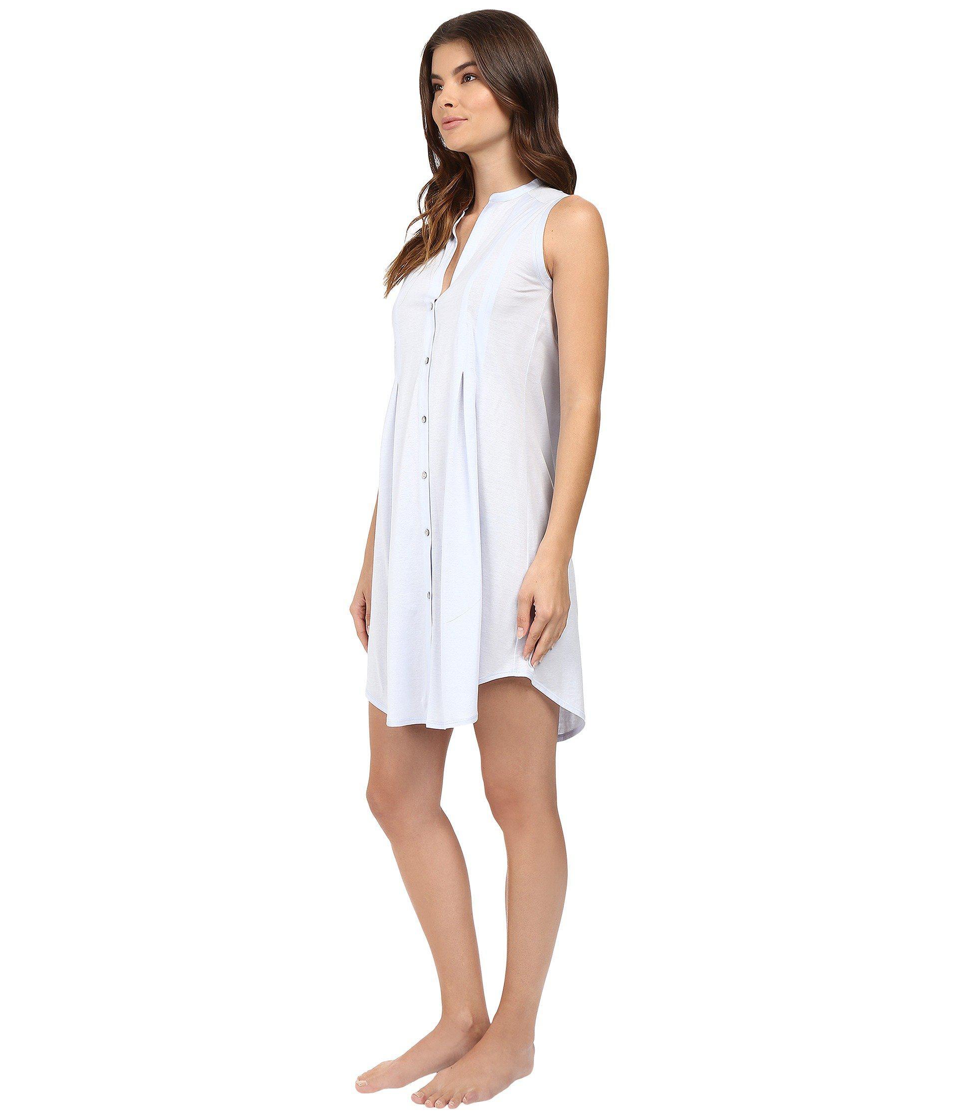 de41518380 Lyst - Hanro Cotton Deluxe Button Front Tank Nightgown (tender Rose)  Women s Pajama in White