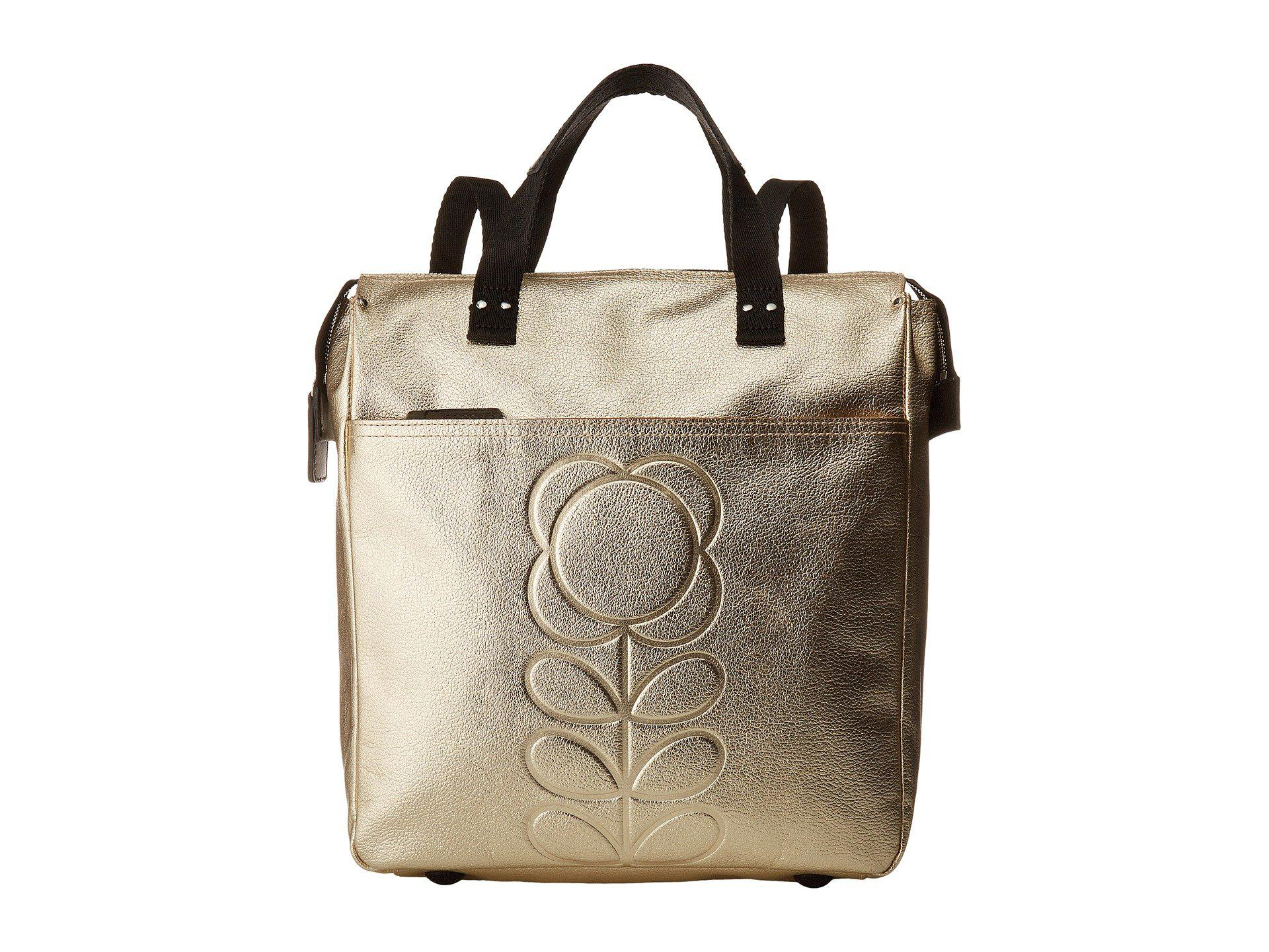 4a434ef20b22 Lyst - Orla Kiely Embossed Flower Stem Leather Backpack in Metallic