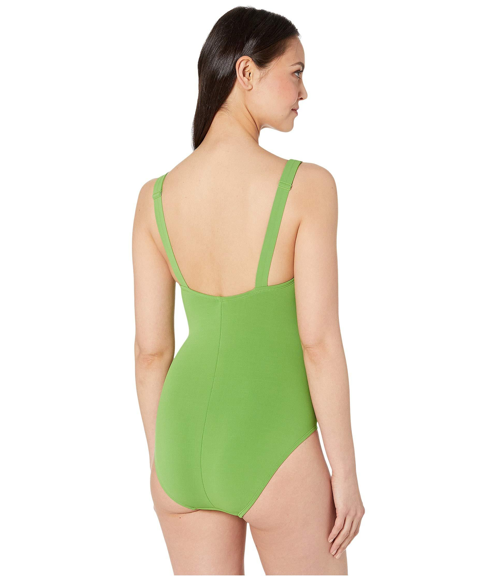 f145b479d9dbf Robin Piccone - Green Ava Plunge One-piece With Front Knots (navy) Women's.  View fullscreen