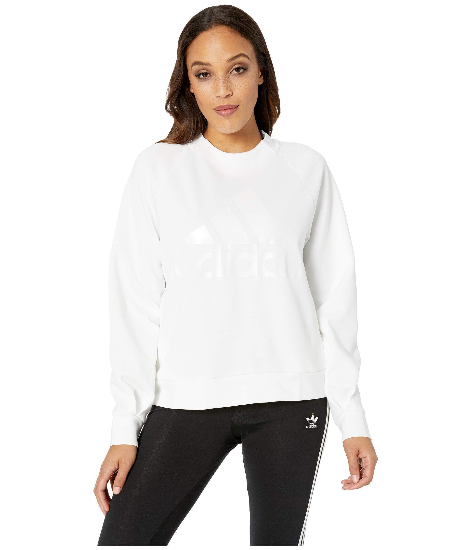 d45ca315cd Adidas - White Id Glory Crew (black) Women s Sweatshirt - Lyst. View  fullscreen