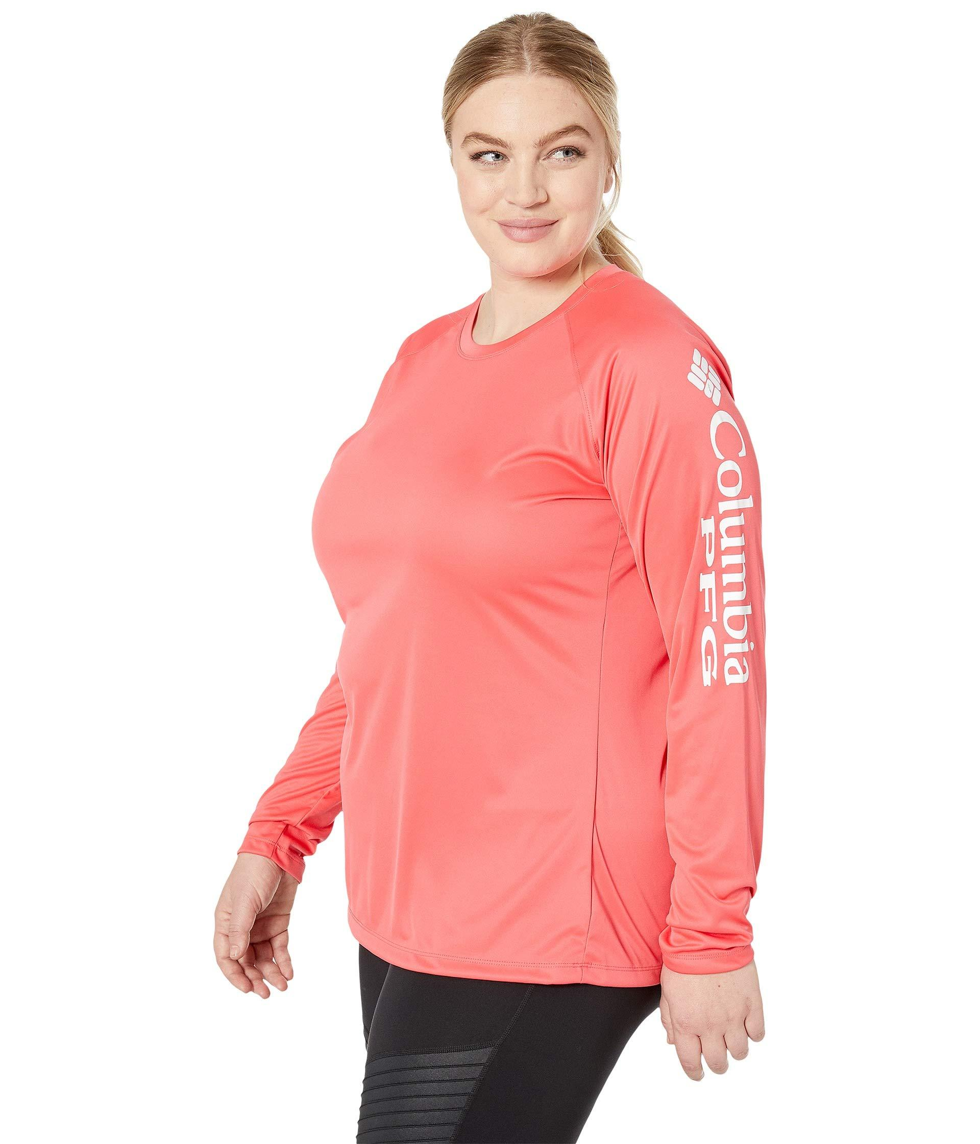 d63ae5ea4762f Lyst - Columbia Plus Size Tidal Teetm Ii Long Sleeve Shirt (bright Geranium  white) Women s Long Sleeve Pullover in Pink