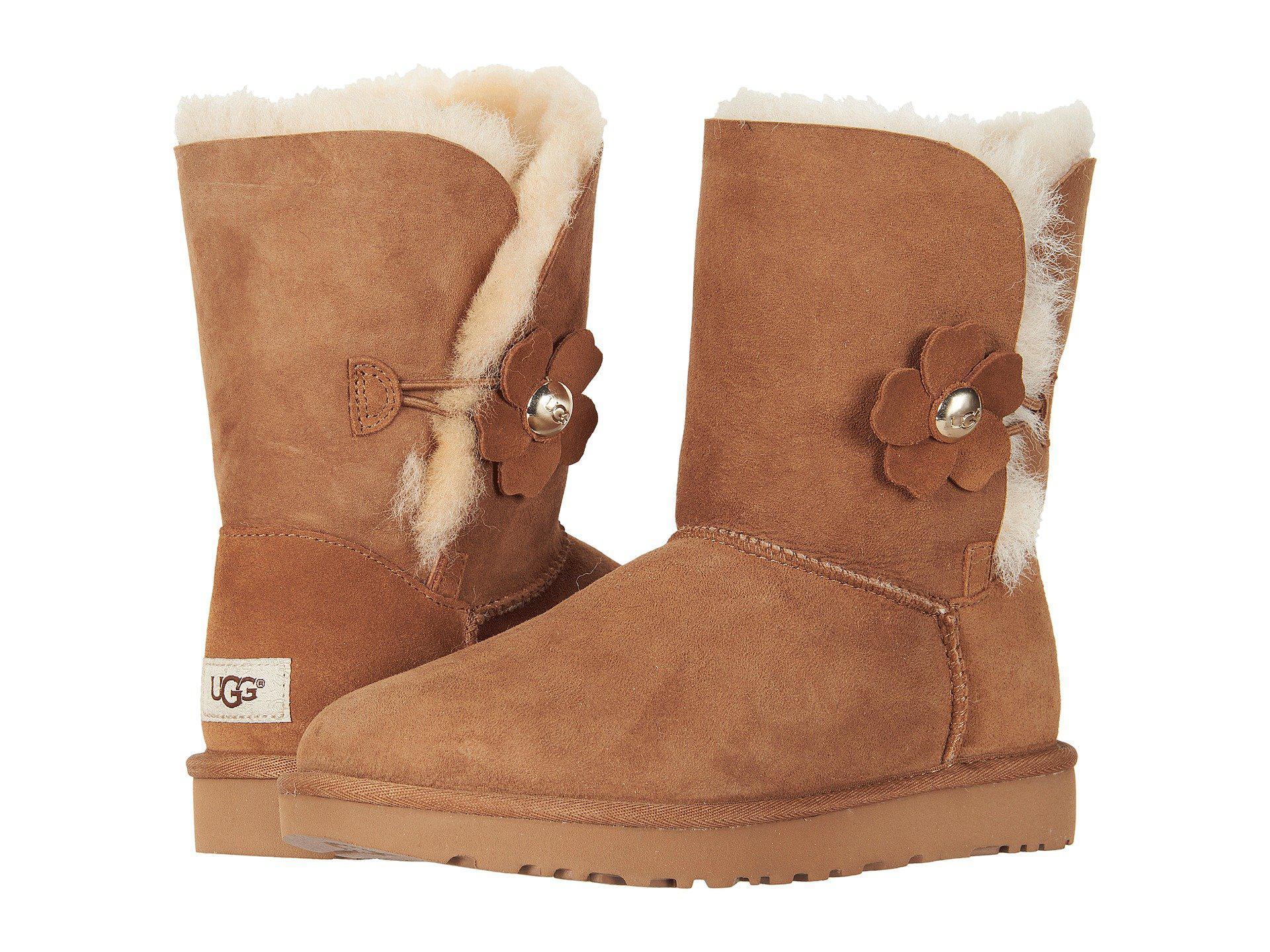 lyst ugg bailey button poppy chestnut women s pull on boots in brown rh lyst com
