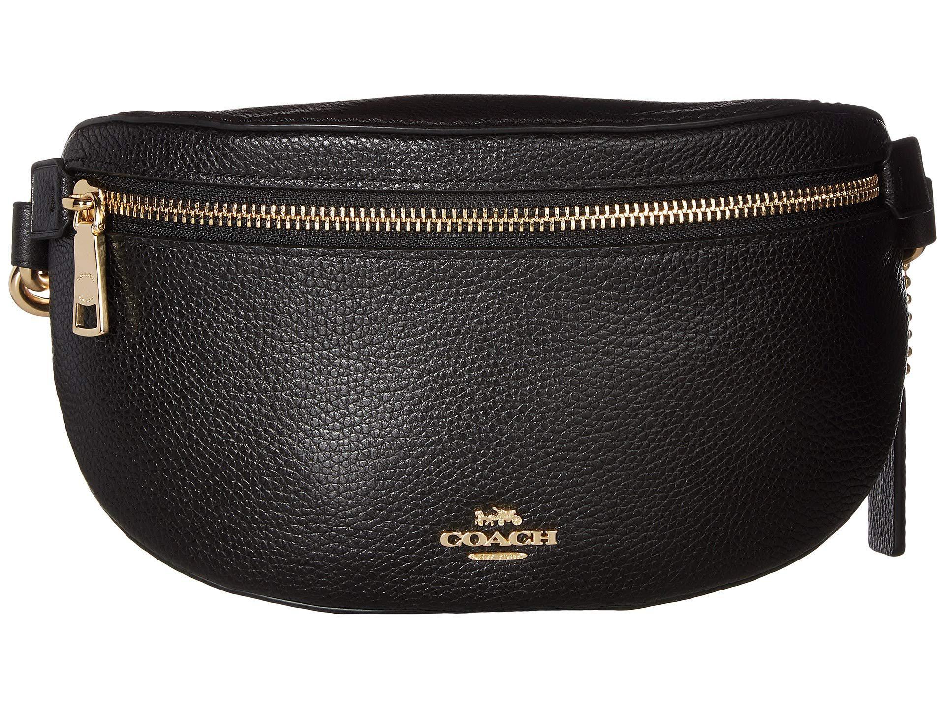 2532ee35f688 Lyst - COACH Polished Pebble Belt Bag (gd black) Wallet in Black