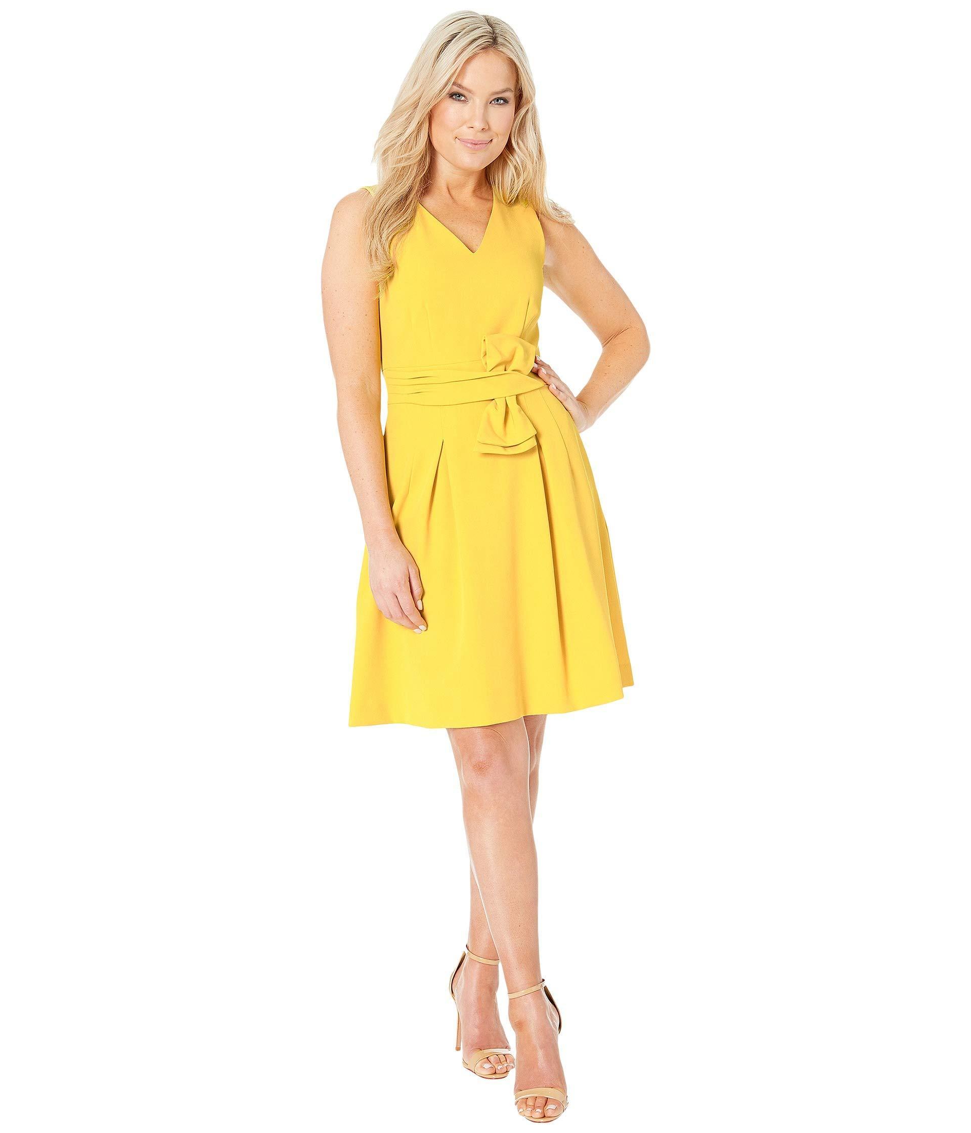 bb73ba331af7e Lyst - Tahari Petite Sleeveless V-neck Bow Waist Dress (sunflower ...