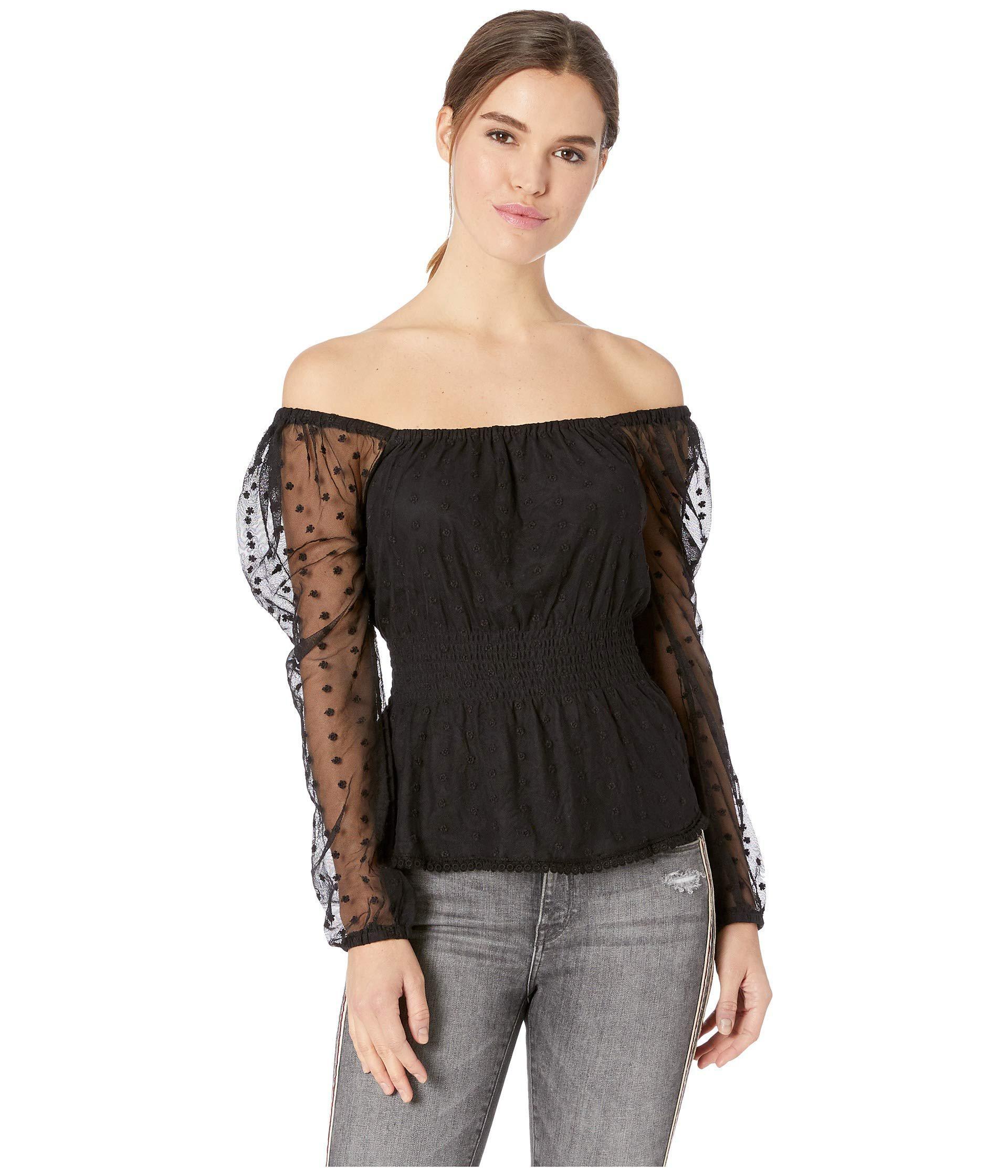 4f23aca82d7c0f Cupcakes And Cashmere Davina Swiss Dot Top (black) Women's Clothing ...