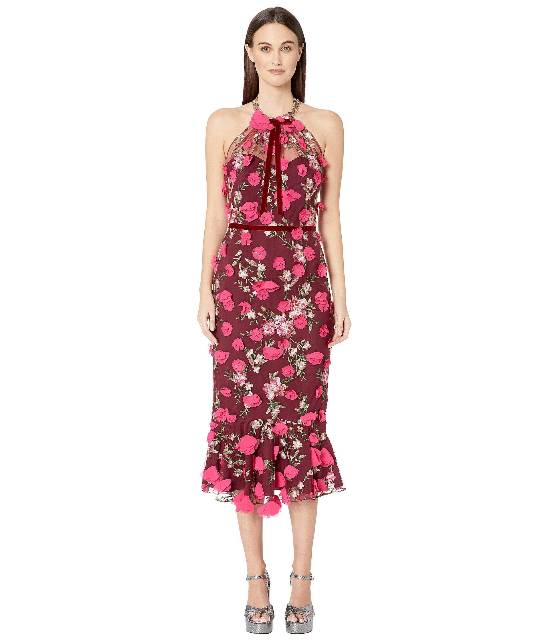 4d7279ff0d36 Lyst - Marchesa notte Sleeveless Embroidered Halter Cocktail W  3d ...
