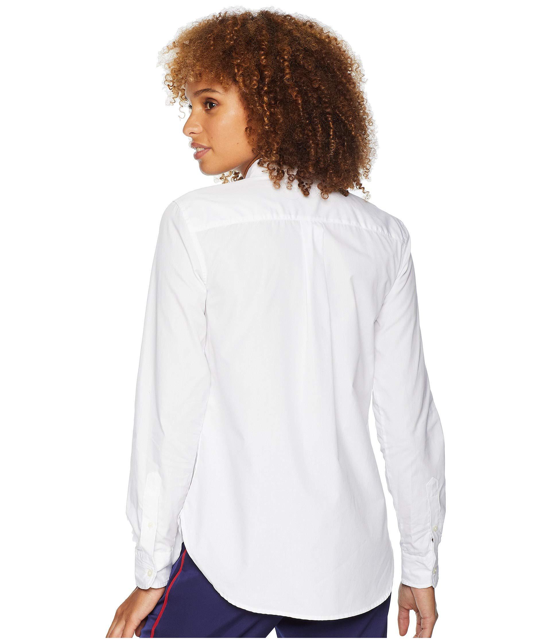 a5f73e329ca Lauren by Ralph Lauren - Bullion-patch Poplin Shirt (white) Women s Clothing  -. View fullscreen