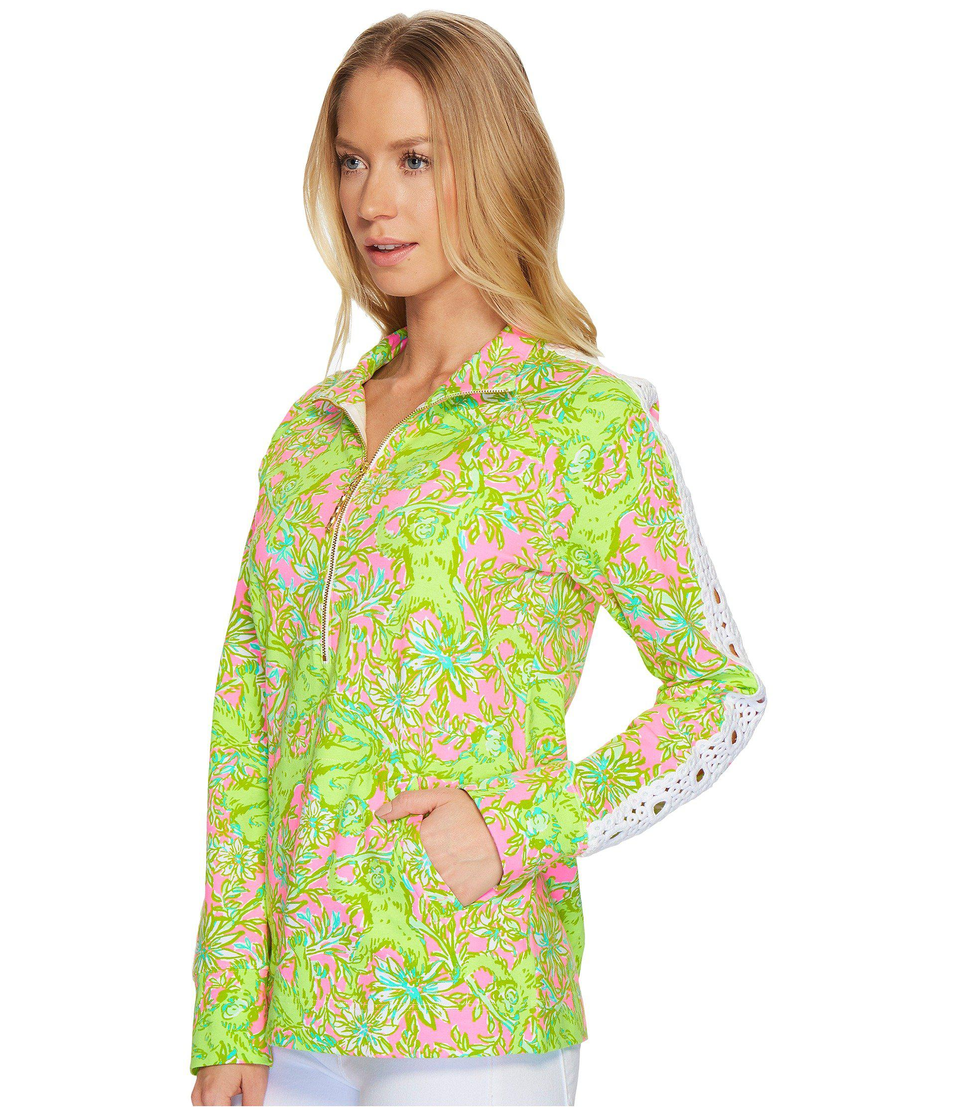 4b902ef226c Lyst - Lilly Pulitzer Skipper Popover W  Lace (pelican Pink Pop-up Chimply  Chic) Women s Sweatshirt in Green