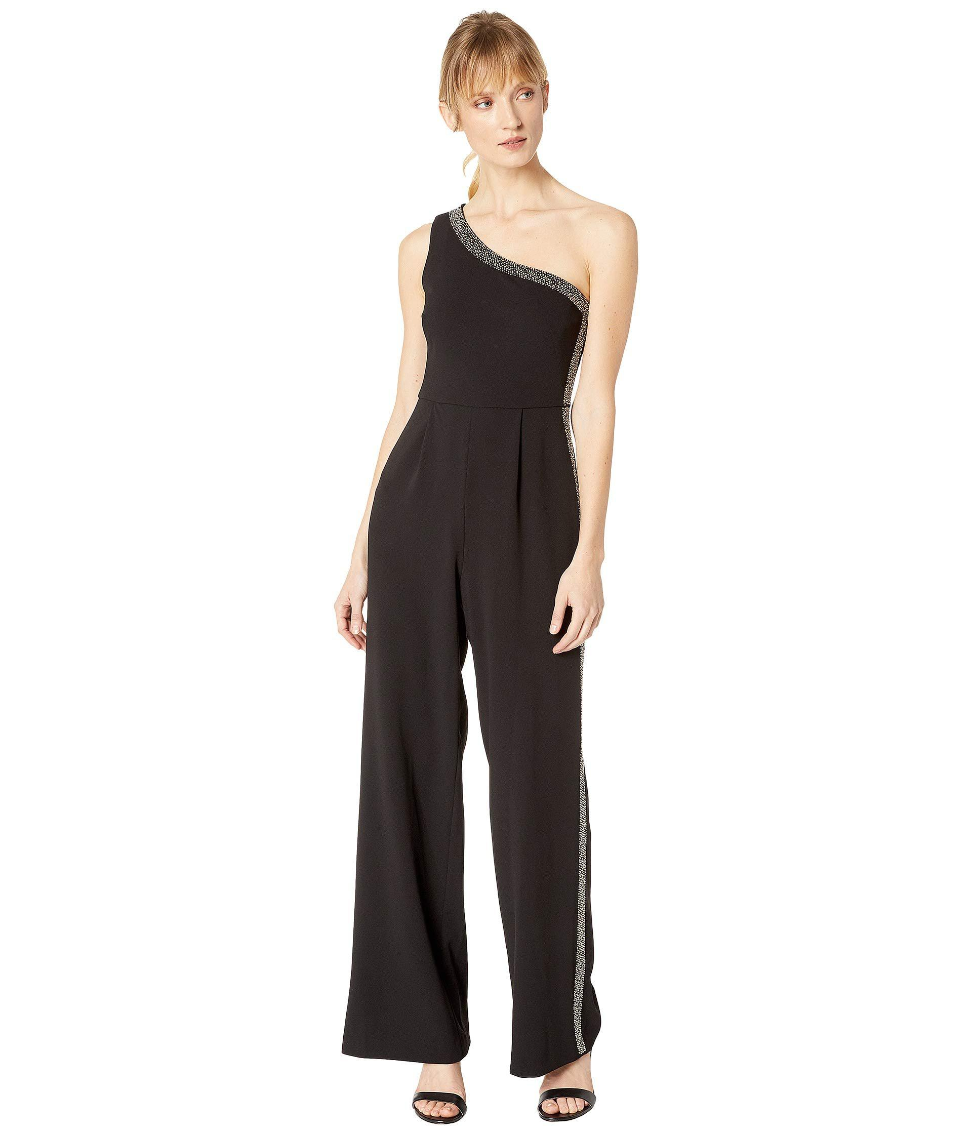 d5a9fb64b12 Lyst - Calvin Klein One Shoulder Embellished Neck And Side Pant ...