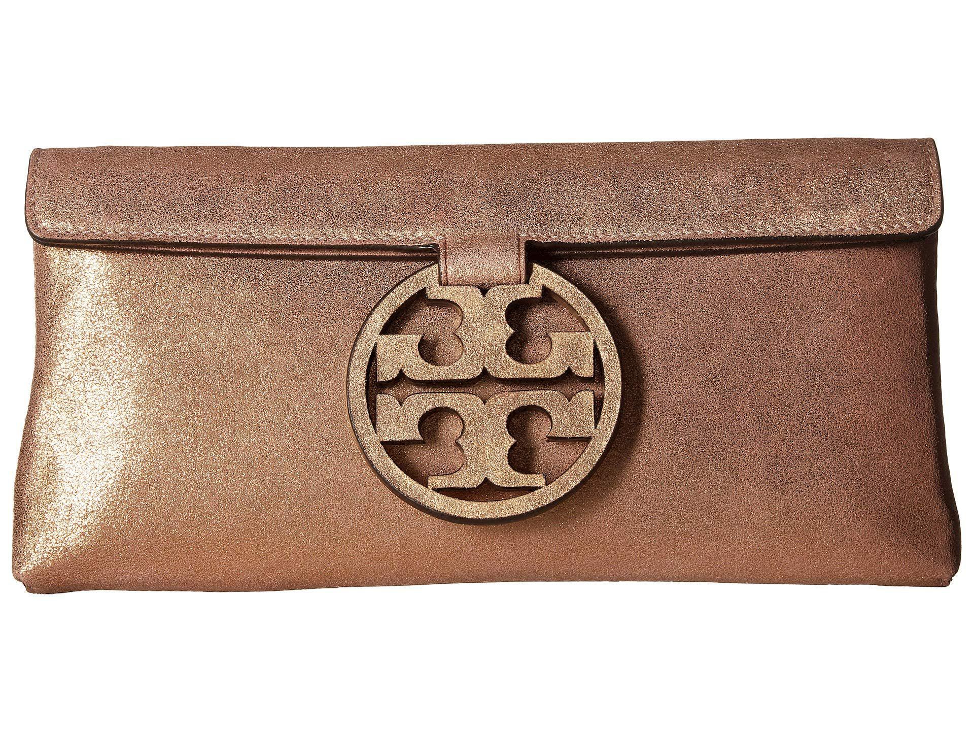 ec9fcdc3cf79 Tory Burch. Women s Miller Metallic Clutch (seashell Pink) Clutch Handbags