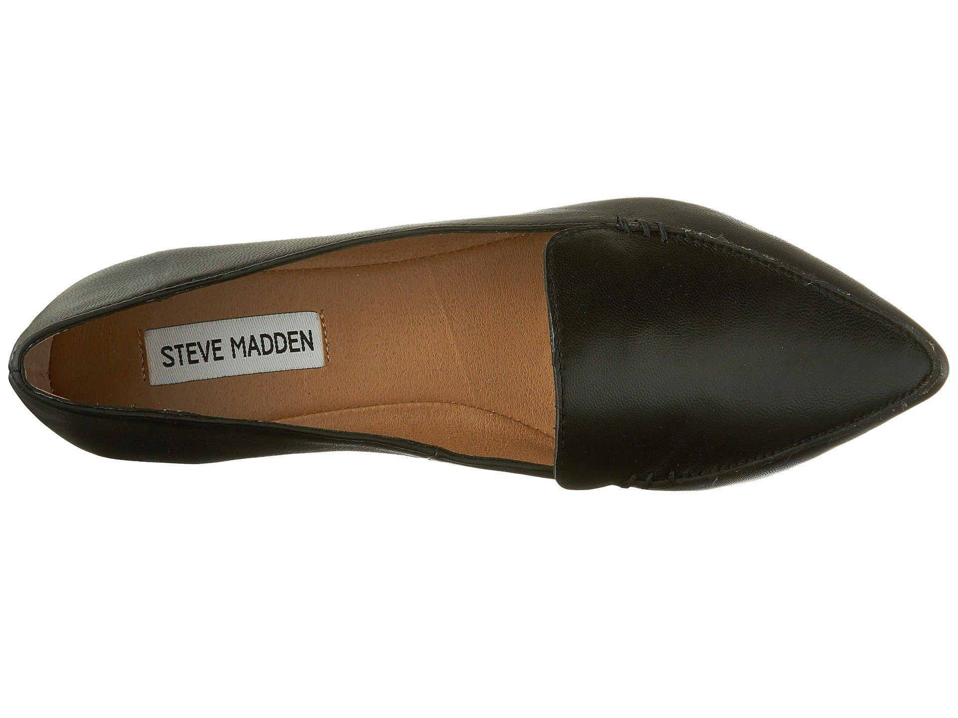 337e29070b7 Steve Madden - Black Feather Loafer Flat (white Leather 2) Women s Dress Flat  Shoes. View fullscreen