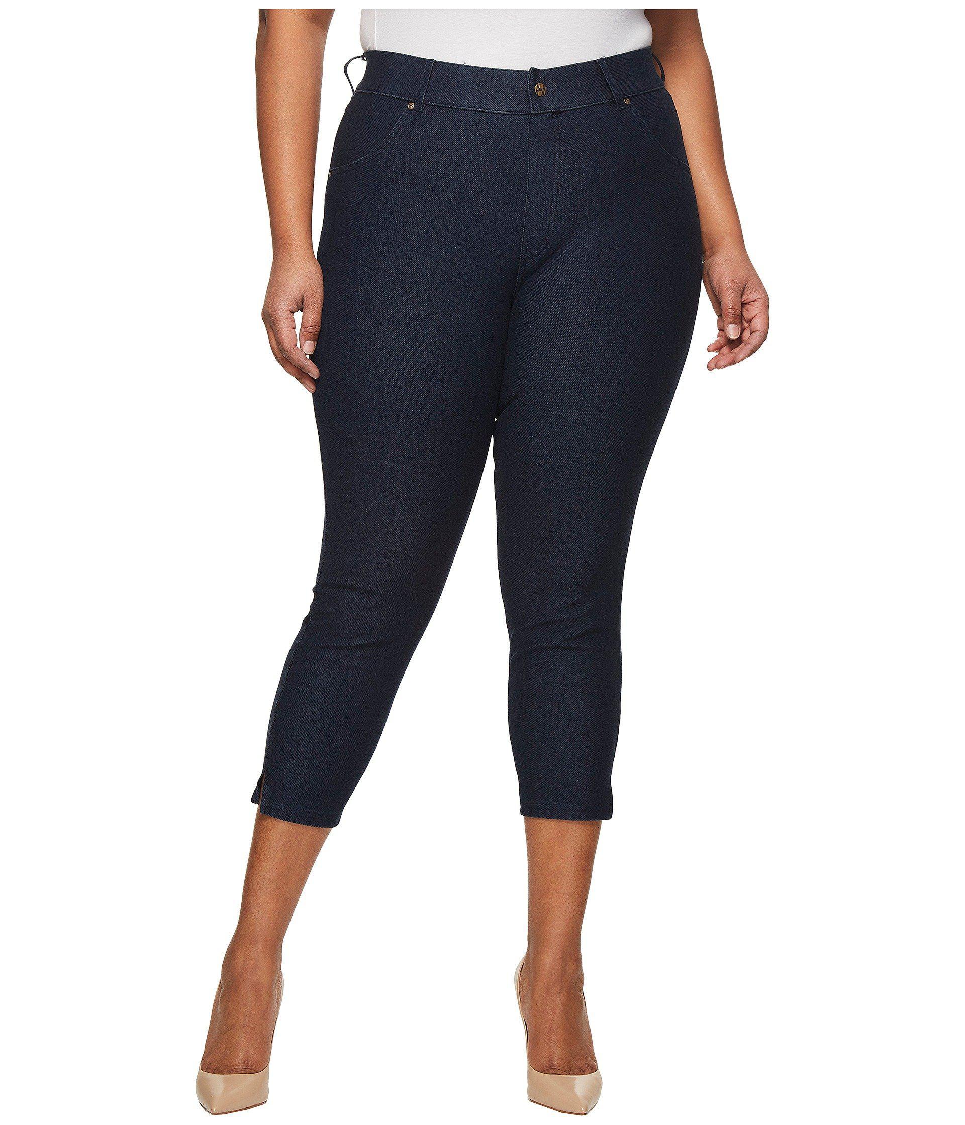 0ad6bda7b3c8a7 Hue Plus Size Ankle Slit Essential Denim Capris (white) Women's ...