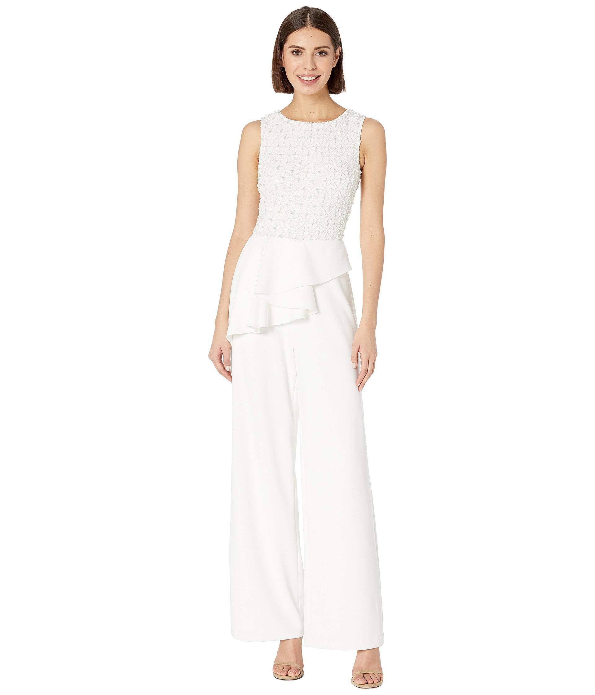 52f586c5c0b2 Adrianna Papell. White Sleeveless Beaded Bodice Knit Crepe Jumpsuit With  Peplum (ivory) ...