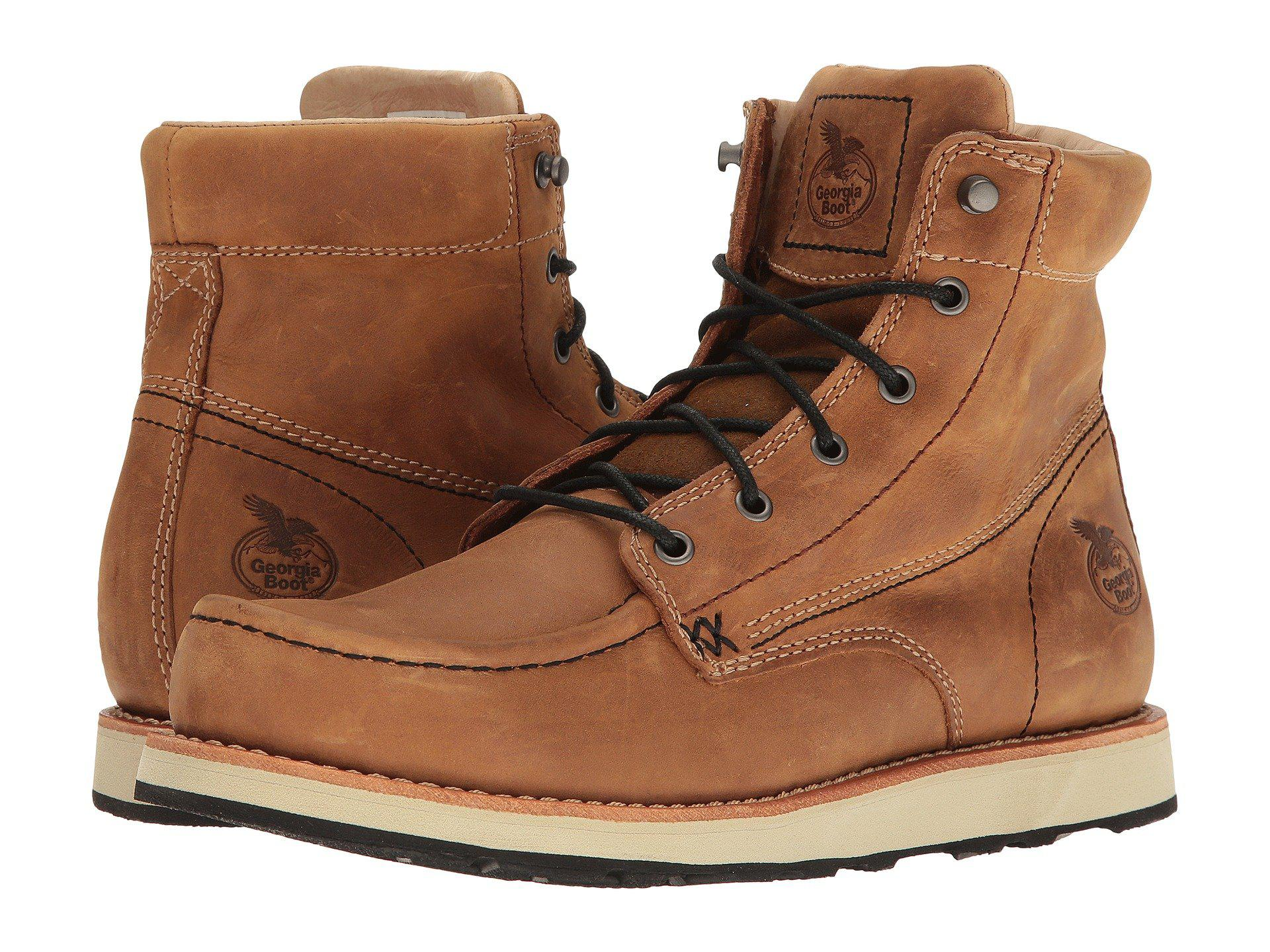 9c8d73590313 Lyst - Georgia Boot Small Batch 6 Moc Toe Wedge (brown) Men s Work ...