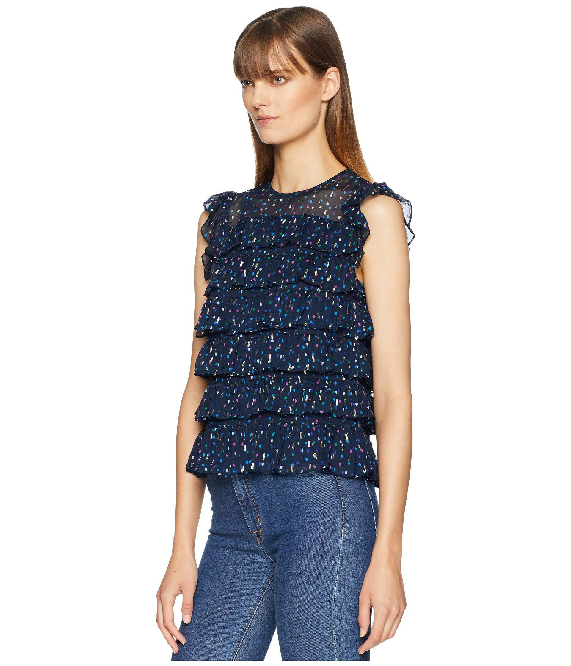 5513f745c34d1 Lyst - Rebecca Taylor Sleeveless Dot Ruffle Top (navy Combo) Women s  Sleeveless in Blue - Save 61%