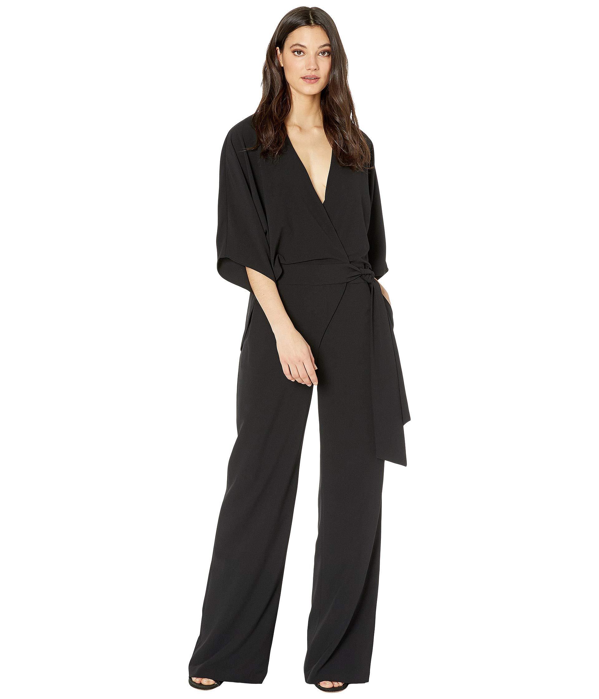 3064d3132fc9 Halston. Wide Short Sleeve Wrap Front Jumpsuit W  Waist Tie (black ...