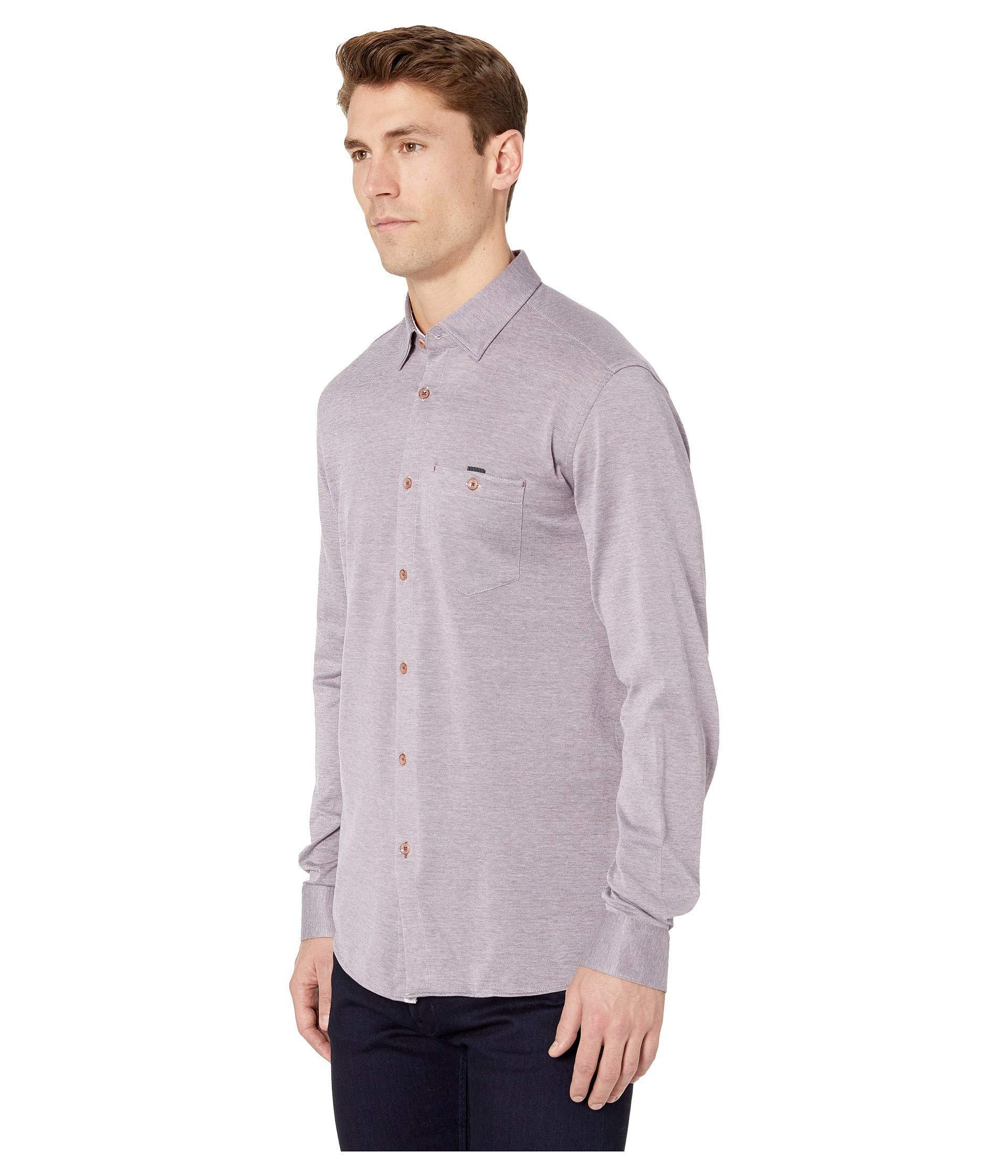 c513011711f3de Lyst - Ted Baker Timothy Long Sleeve Jersey Shirt (purple) Men s Clothing  in Purple for Men
