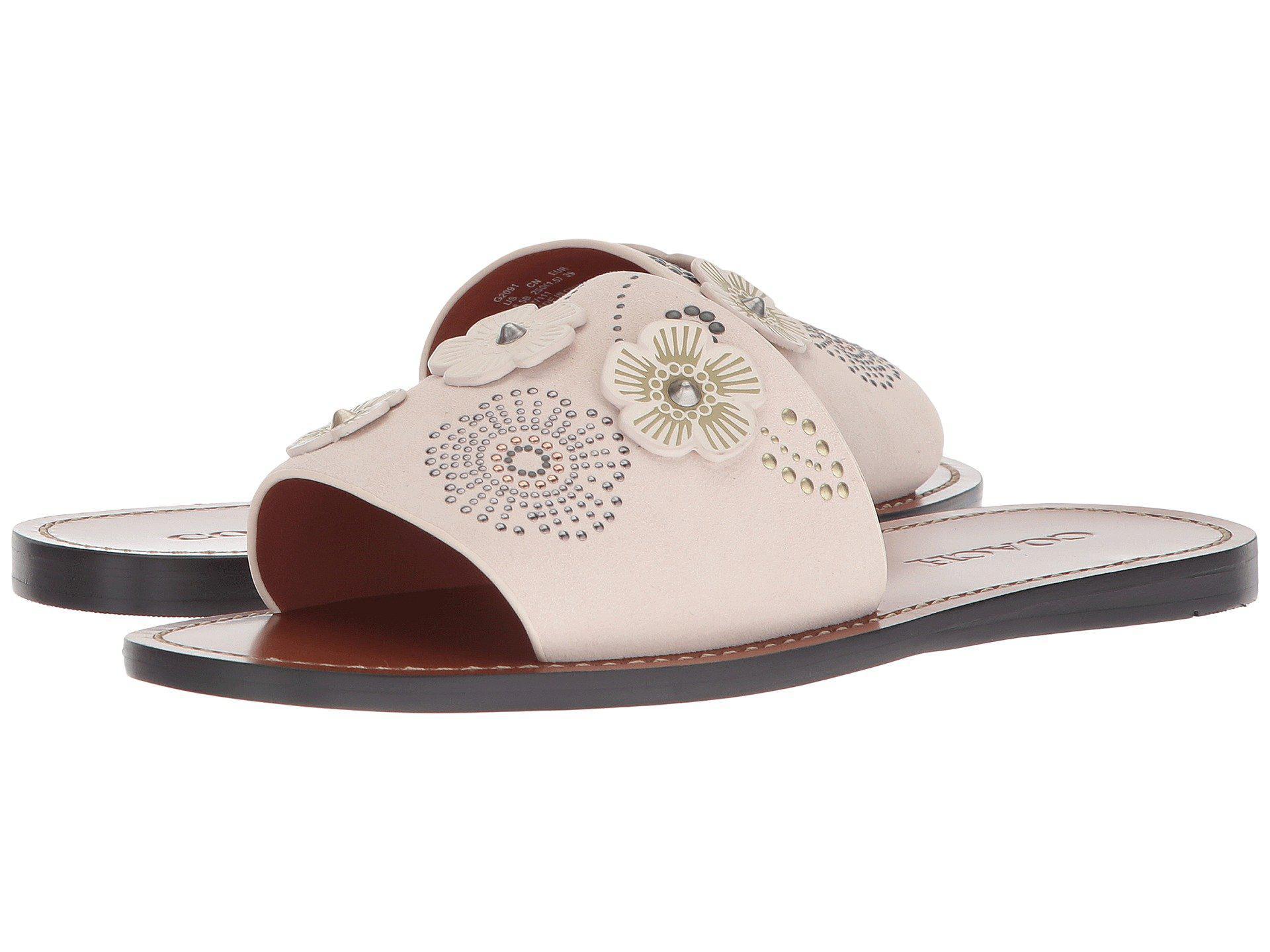 84b38126c099 Lyst coach tea rose rivet slide chalk suede womens slide shoes jpg  1920x1440 Coach slide sandals