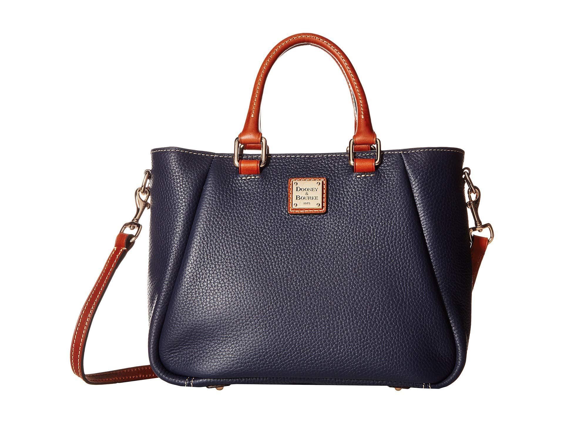 842040944a Dooney   Bourke. Women s Blue Pebble Small Top Zip Satchel (chocolate tan  Trim) Satchel Handbags