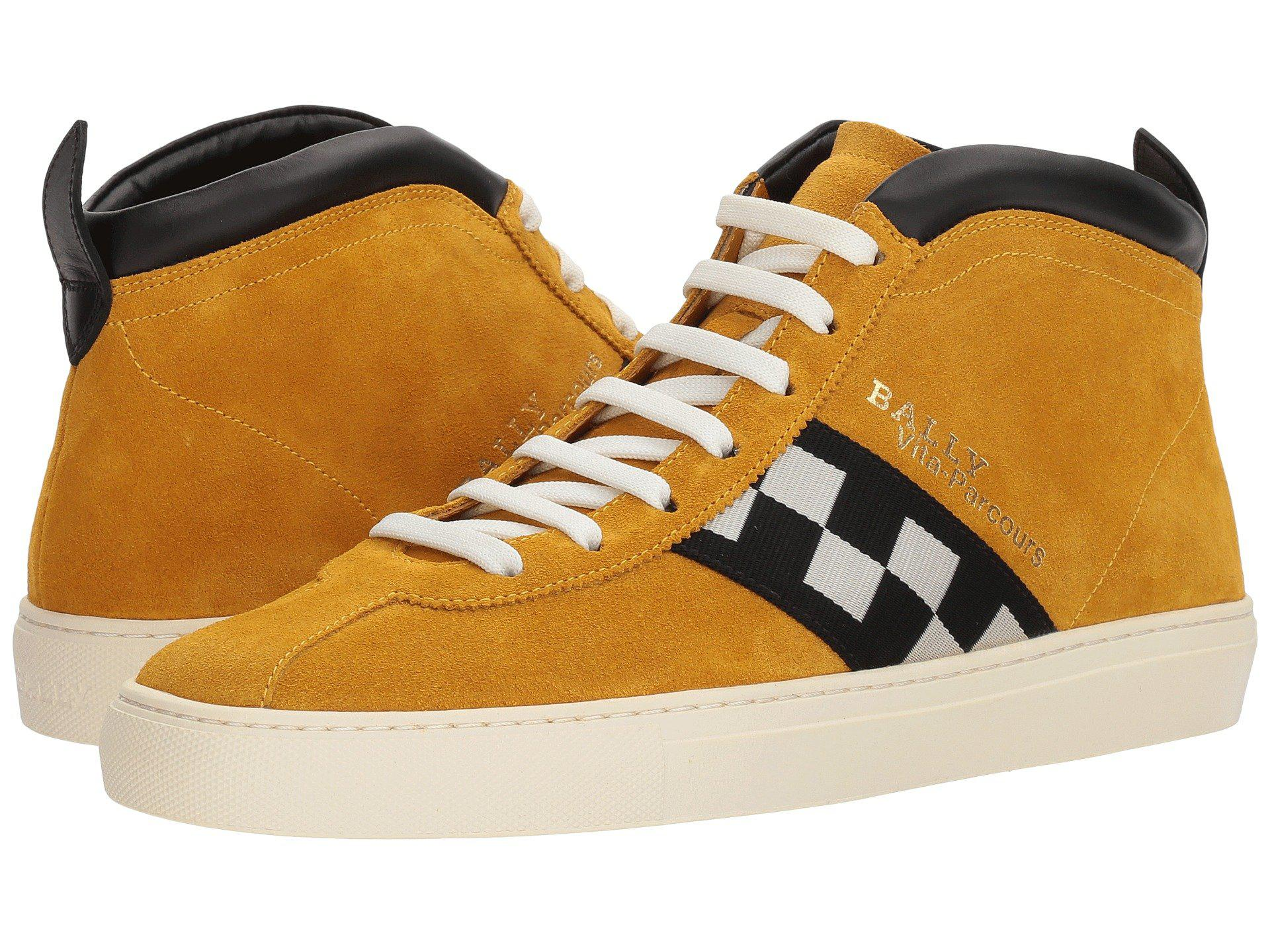 The Vita Parcours Yellow, Mens calf suede trainers in curry Bally