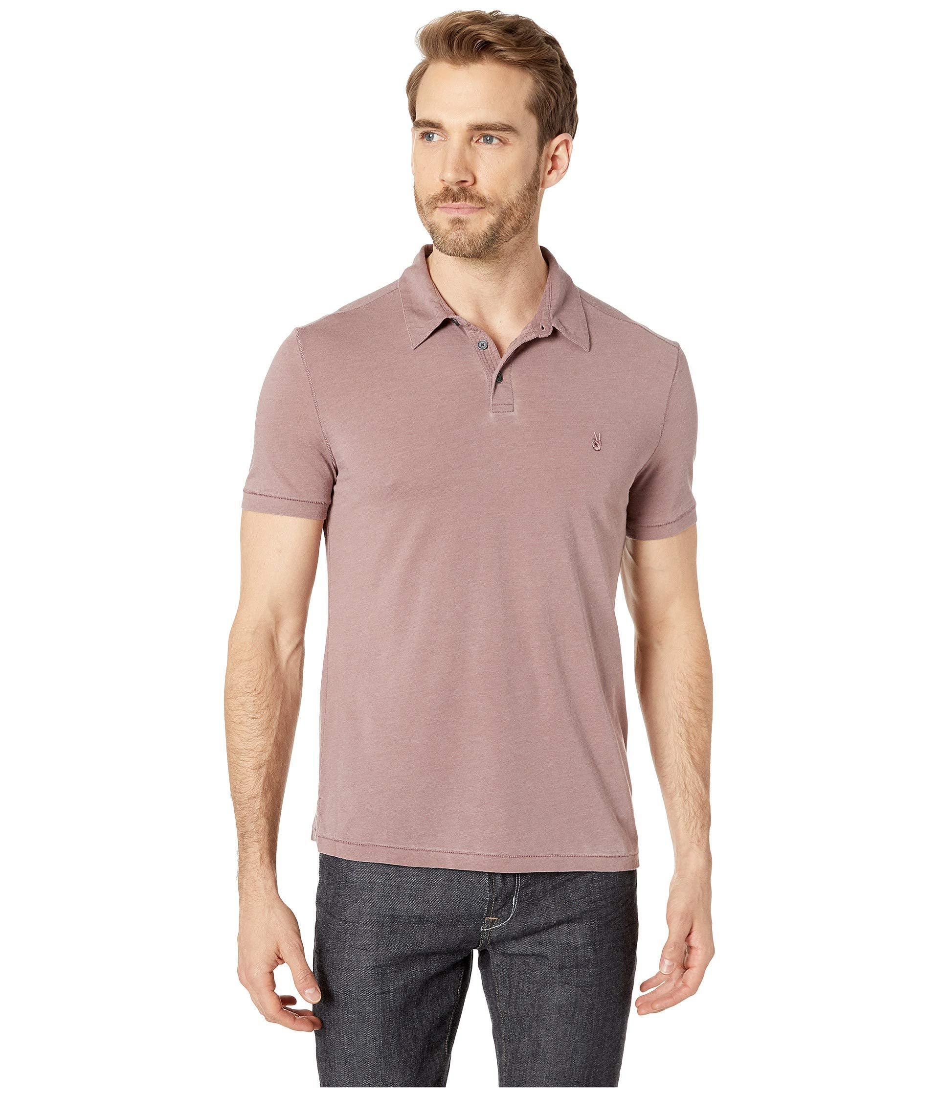 83af6641 John Varvatos. Purple Short Sleeve Burnout Polo With Peace Sign ...