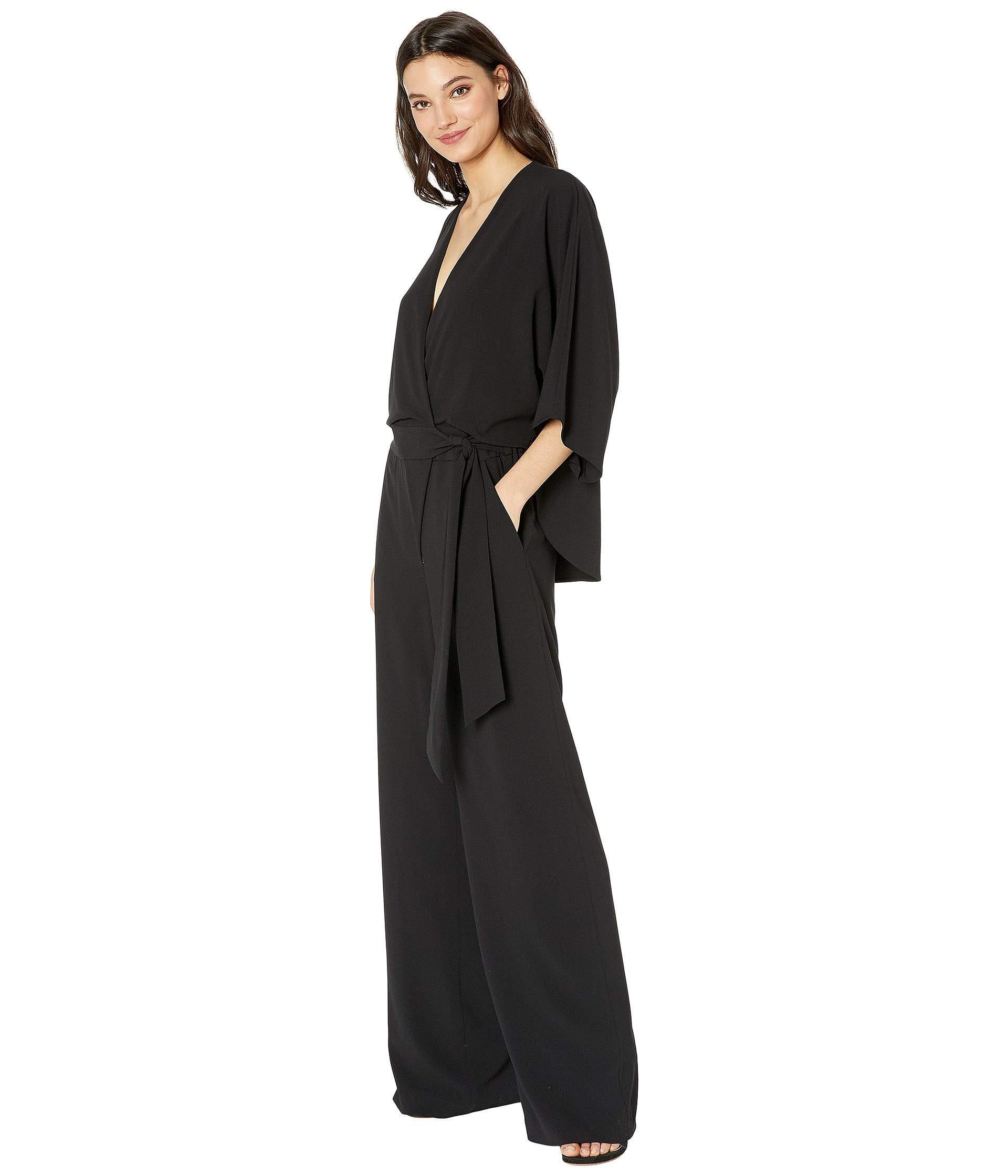 a0def321abf8 Lyst - Halston Wide Short Sleeve Wrap Front Jumpsuit W  Waist Tie (black 1)  Women s Jumpsuit   Rompers One Piece in Black