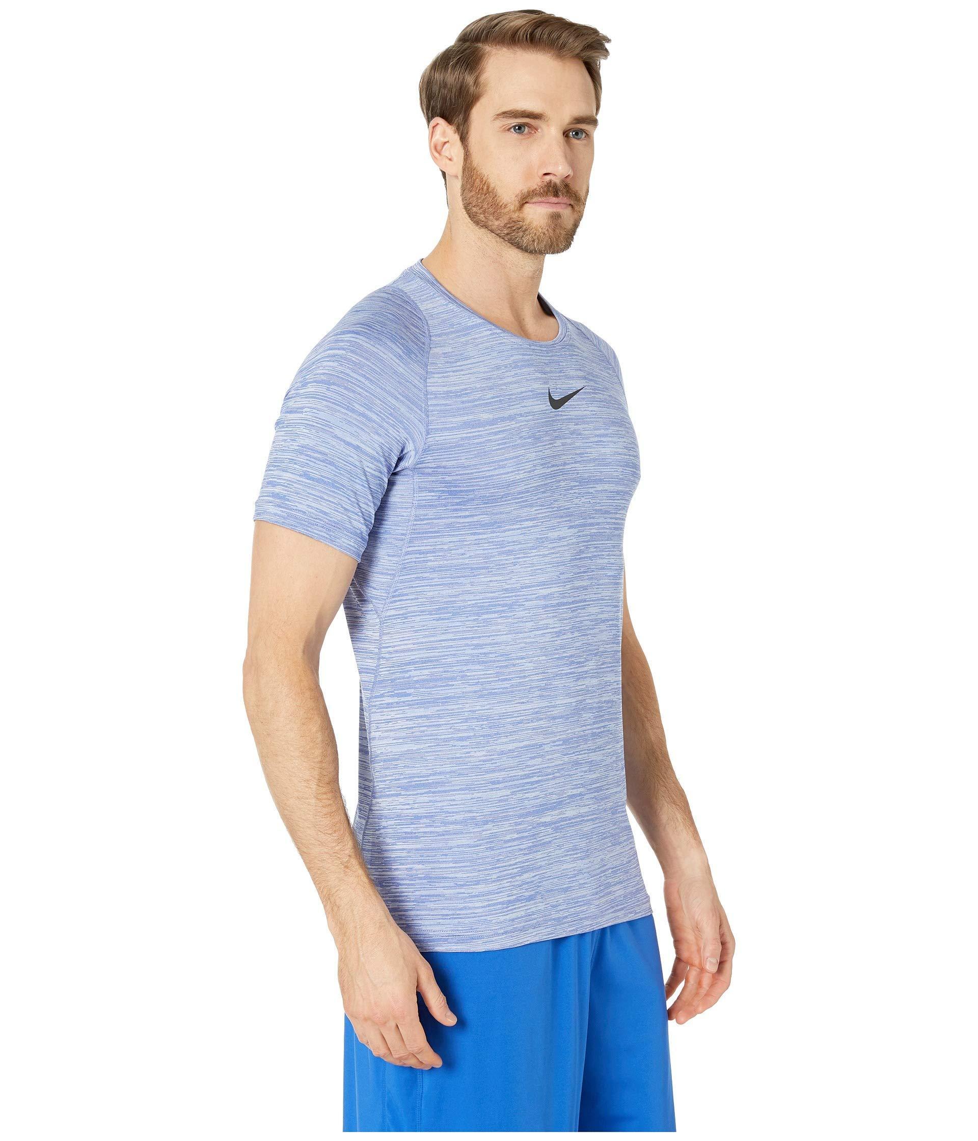 9569fc83 Nike - Pro Heathered Short Sleeve Training Top (light Blue Fury/green  Abyss/. View fullscreen