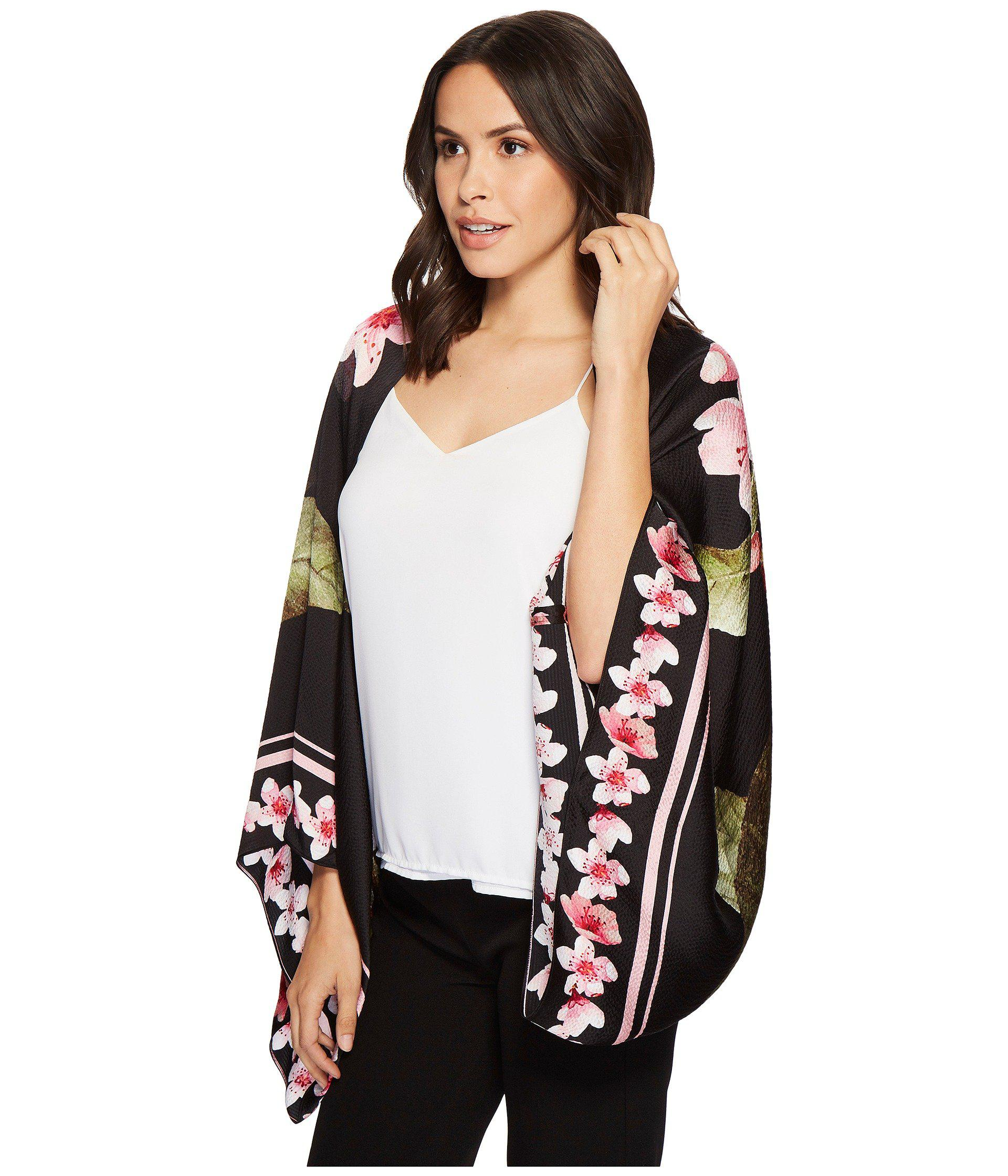 abebaeee3ec2f1 Lyst - Ted Baker Peach Blossom Cape Scarf in Black