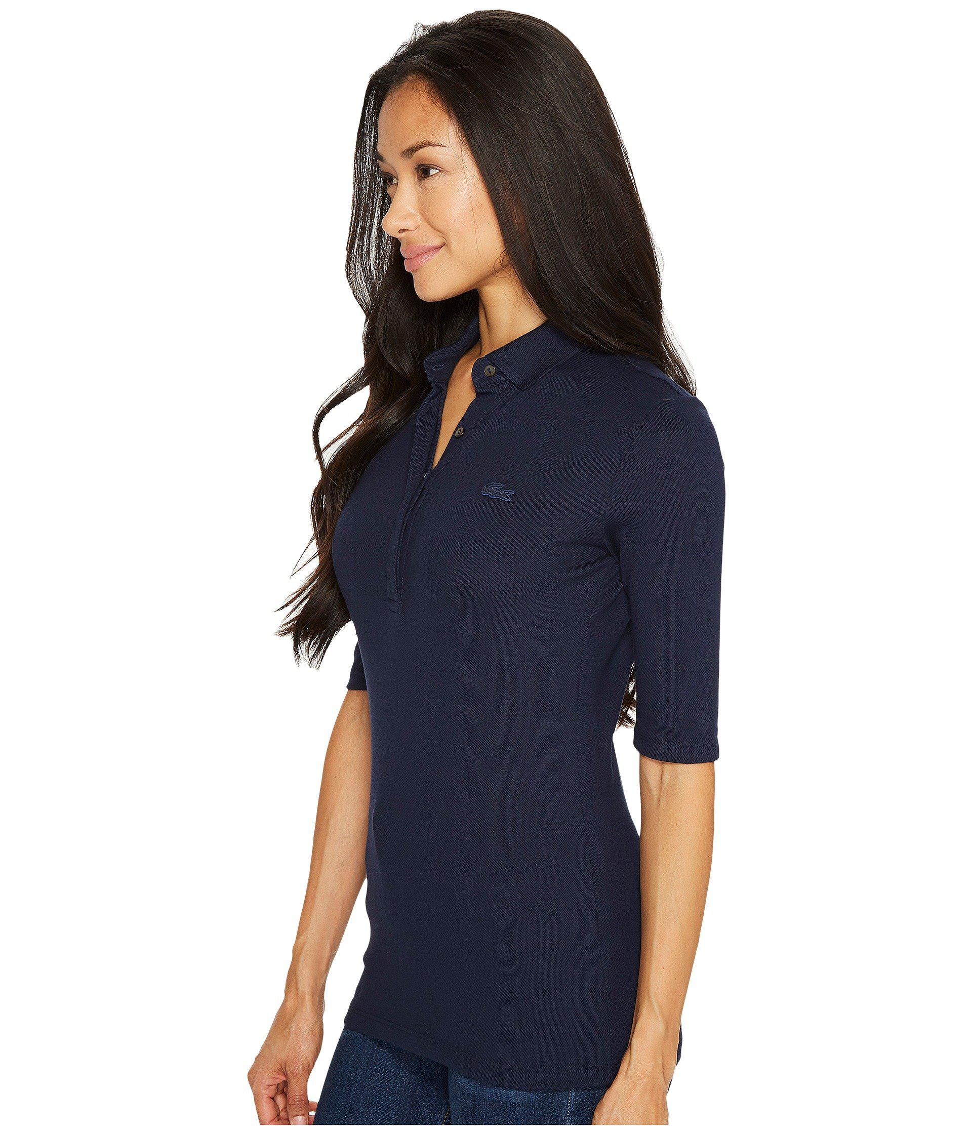 db9b2b85112e Lyst - Lacoste 1 2 Sleeve Slim Fit Stretch Pique Polo (navy Blue) Women s  Clothing in Blue