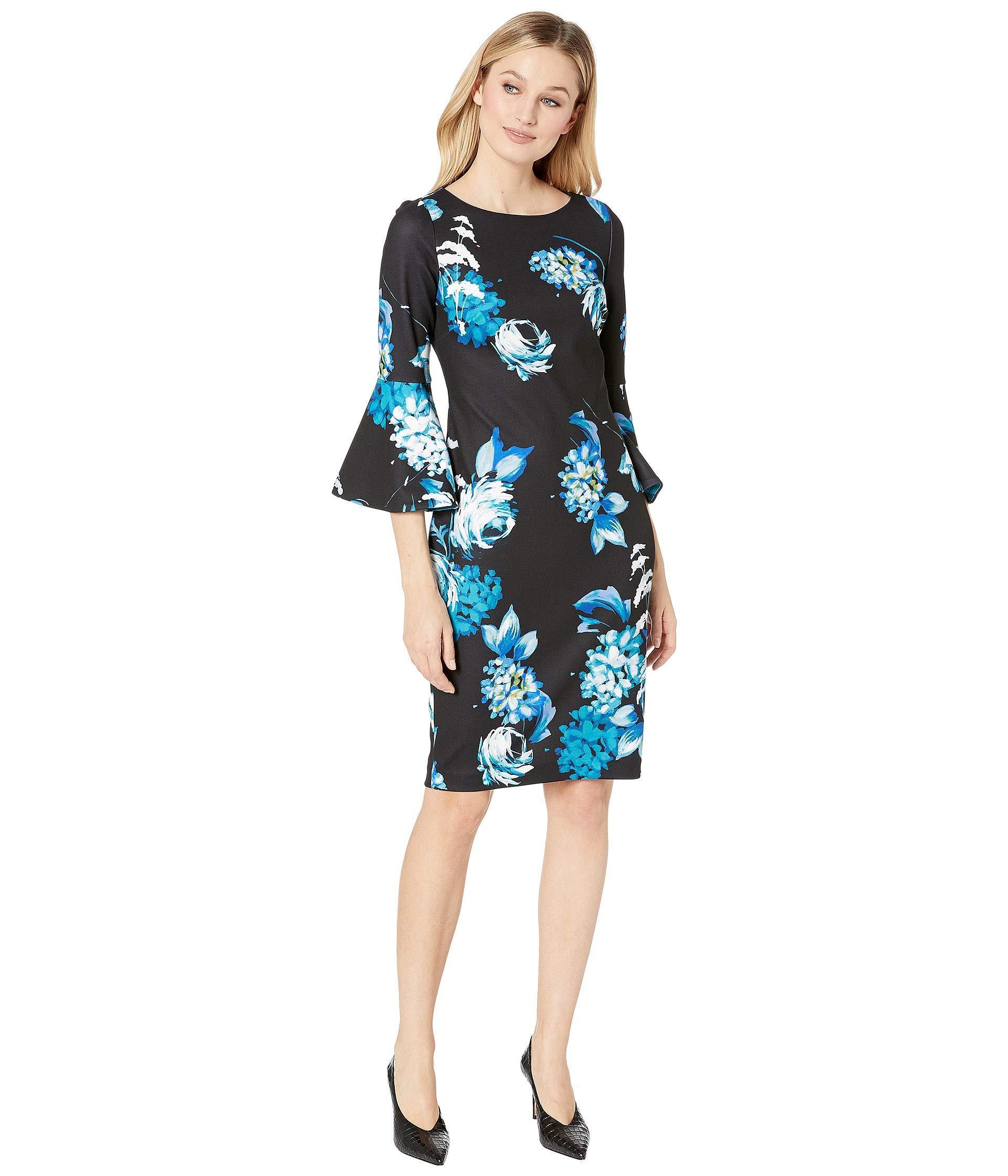 8152ddd8234 Calvin Klein Floral Print Bell Sleeve Dress (lagoon Multi) Women s ...